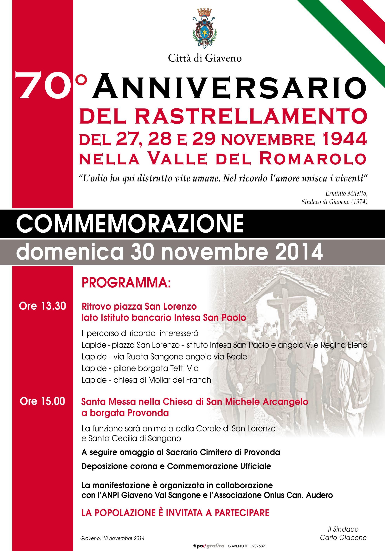 70° anniversario del Rastellamento nella Valle del Romarolo – Domenica 30 novembre 2014