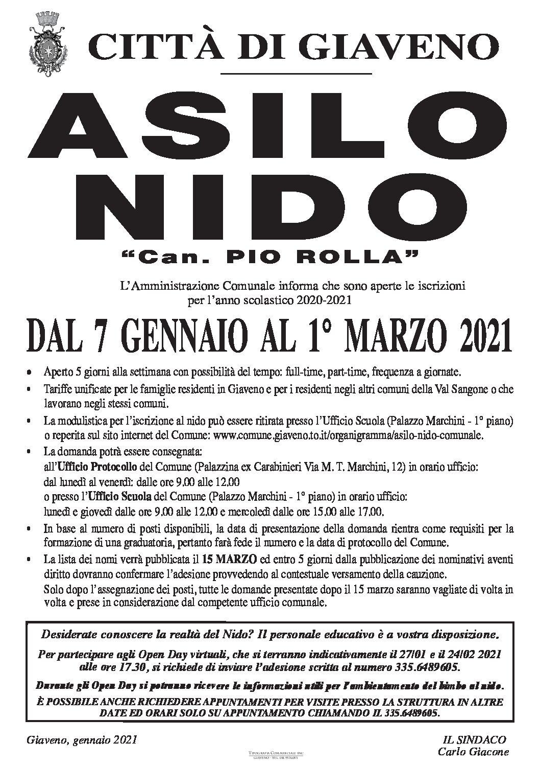 ISCRIZIONI ASILO NIDO COMUNALE A.S. 2021/2022