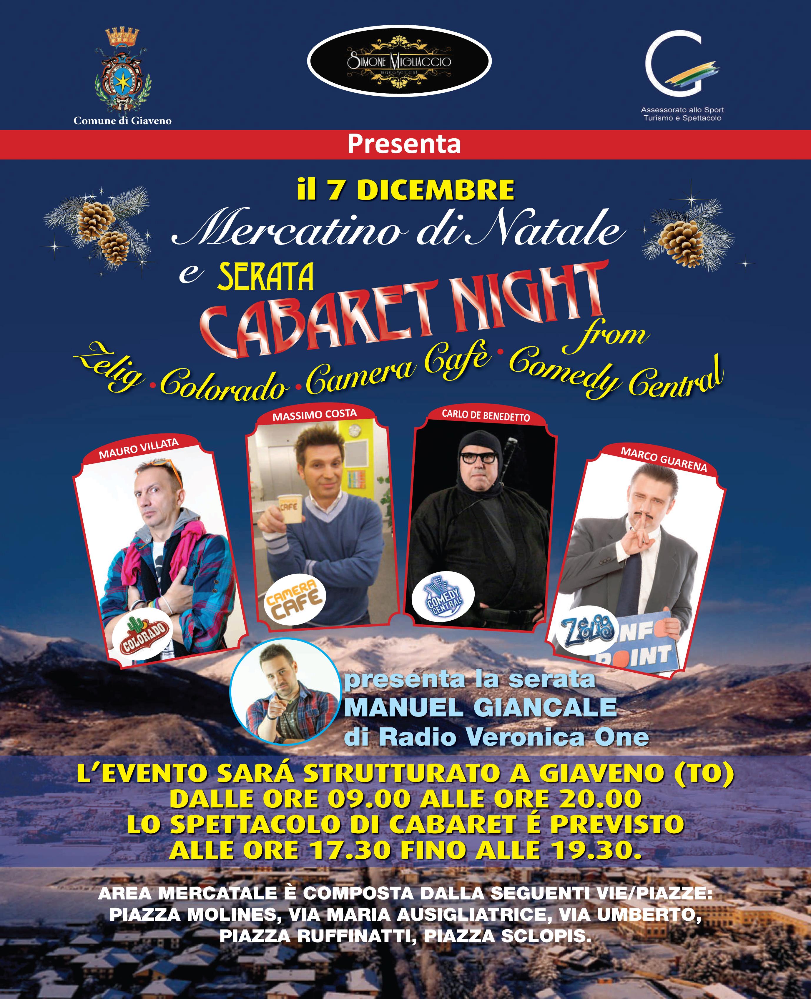 Mercatino di Natale e Cabaret Night – domenica 7 dicembre 2014