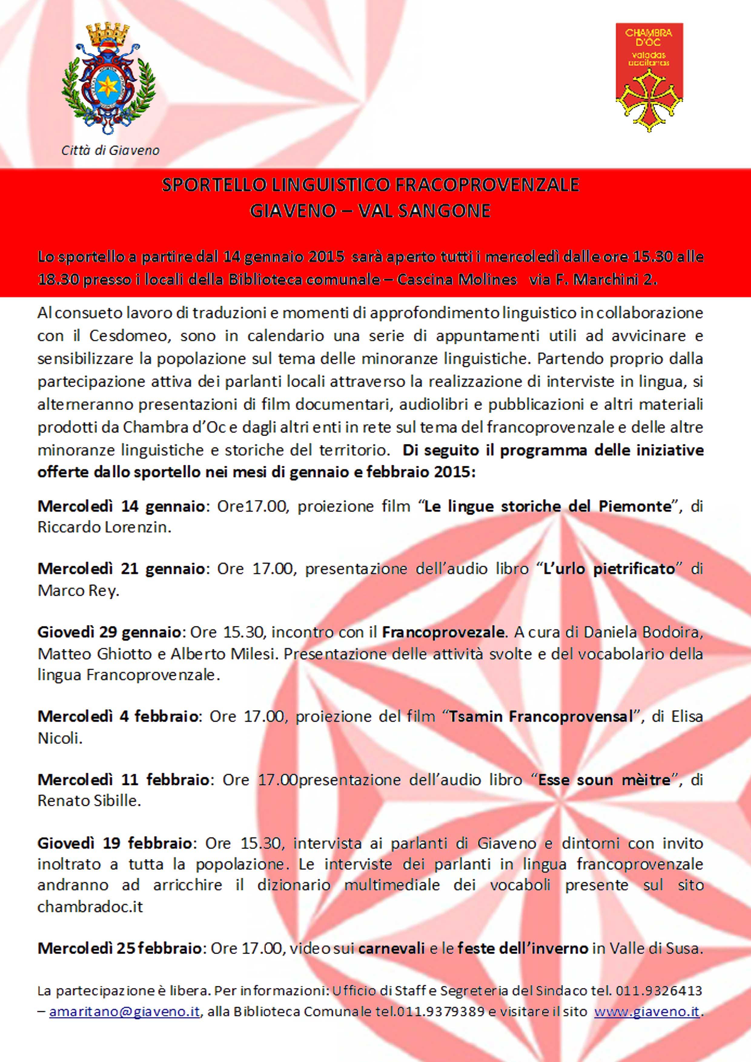 Programma di gennaio e febbraio 2015 dello Sportello francoprovenzale