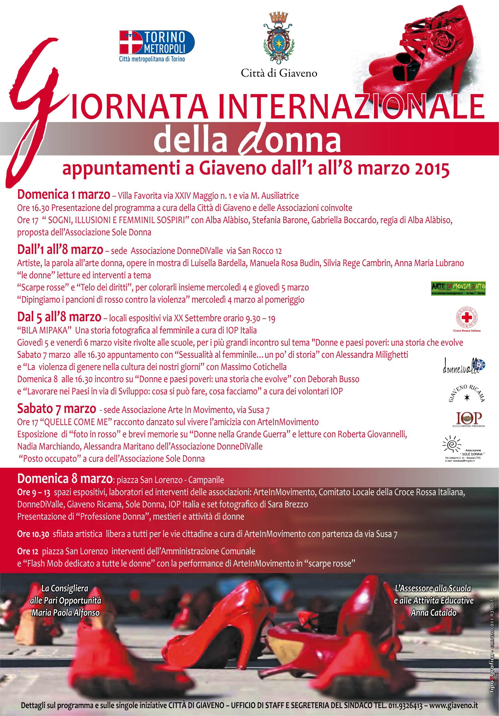 Giornata Internazionale della Donna – Appuntamenti a Giaveno dal 1 all' 8 marzo 2015