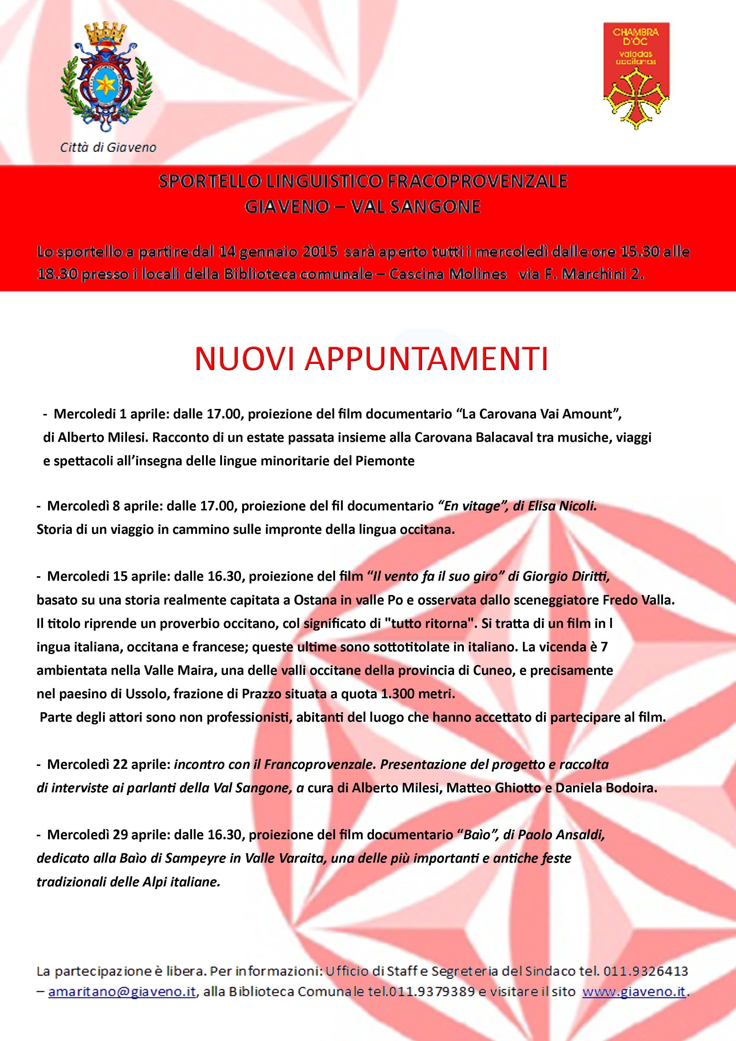 Nuovi appuntamenti ad aprile con lo Sportello Francoprovenzale