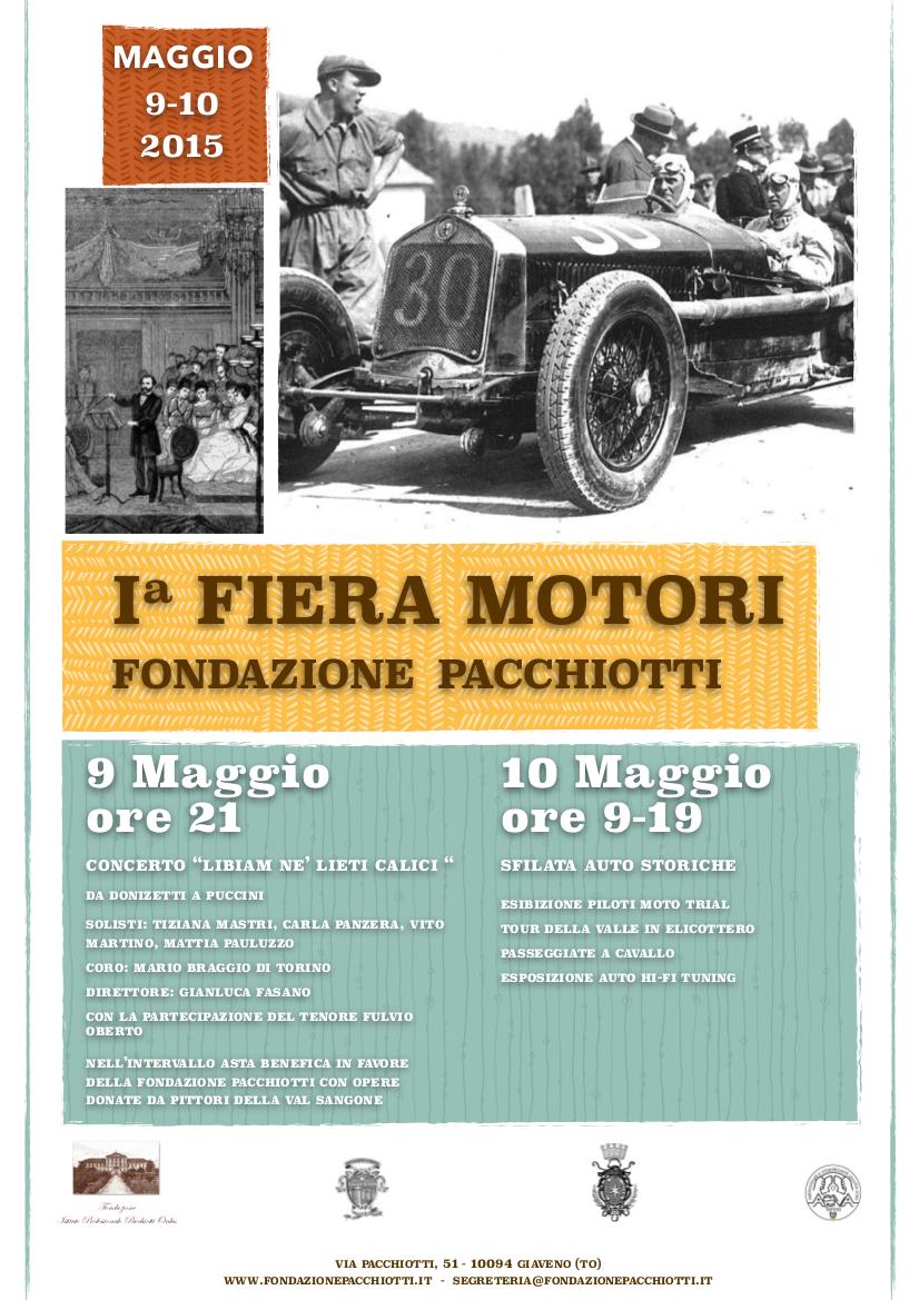 1° Fiera Motori   –  sabato 9 e domenica 10 maggio 2015 – Fondazione Pacchiotti