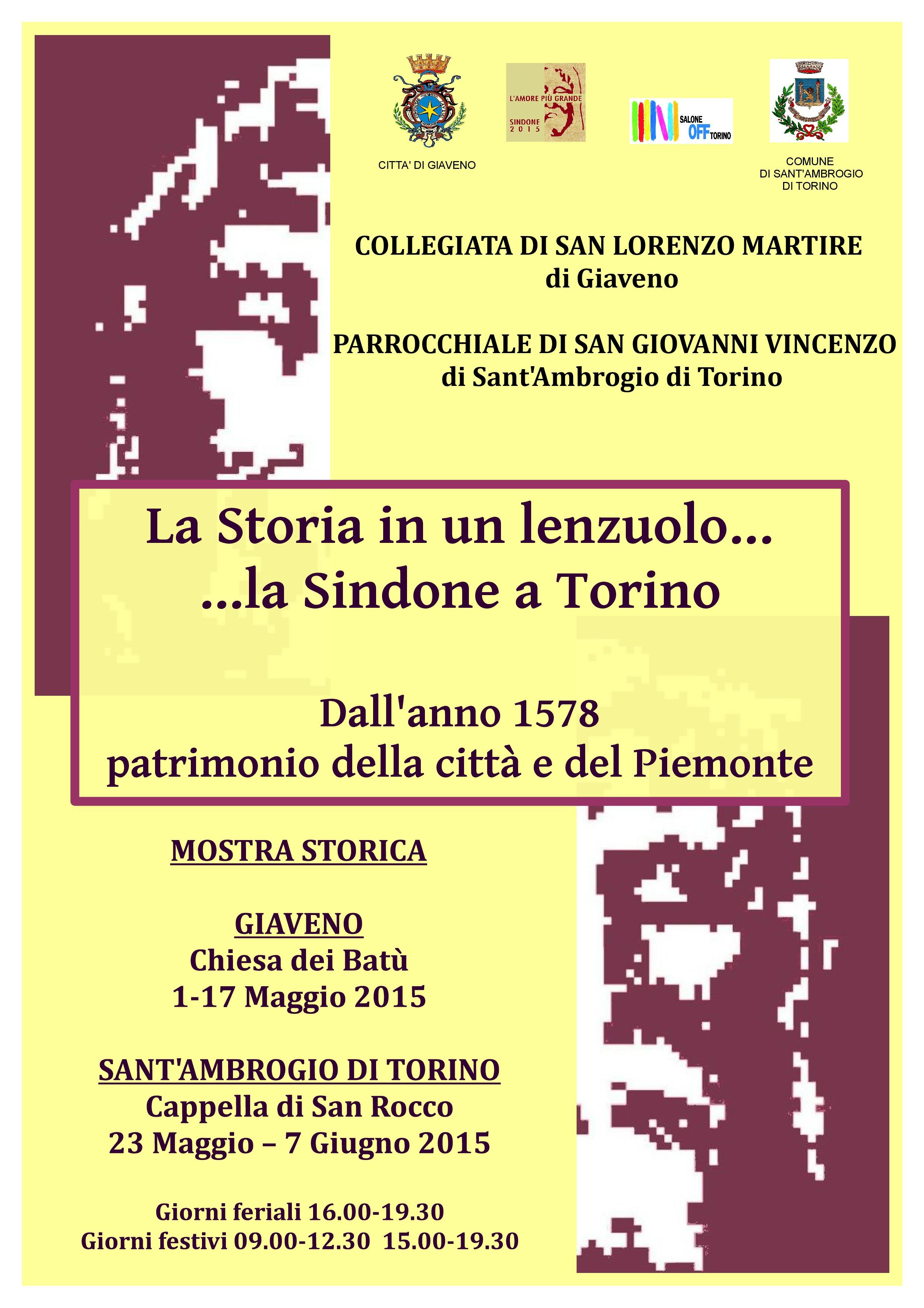 """""""La storia di un lenzuolo … La Sindone a Giaveno"""" mostra storica a Giaveno dal 1° al 17 maggio 2015"""