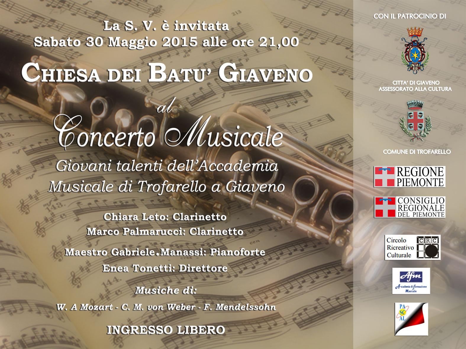 """Concerto """"Giovani dell'Accademia Musicale di Trofarello a Giaveno""""  – sabato 30 maggio 2015 Chiesa dei Batù"""