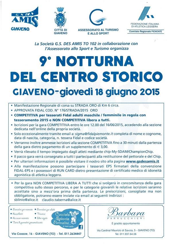 9° NOTTURNA DEL CENTRO STORICO – Giovedì 18 Giugno 2015