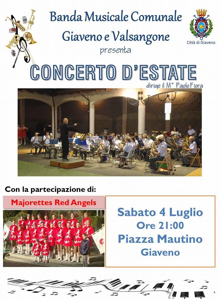 CONCERTO D'ESTATE  della BANDA MUSICALE COMUNALE GIAVENO E VALSANGONE – sabato 4 luglio 2015