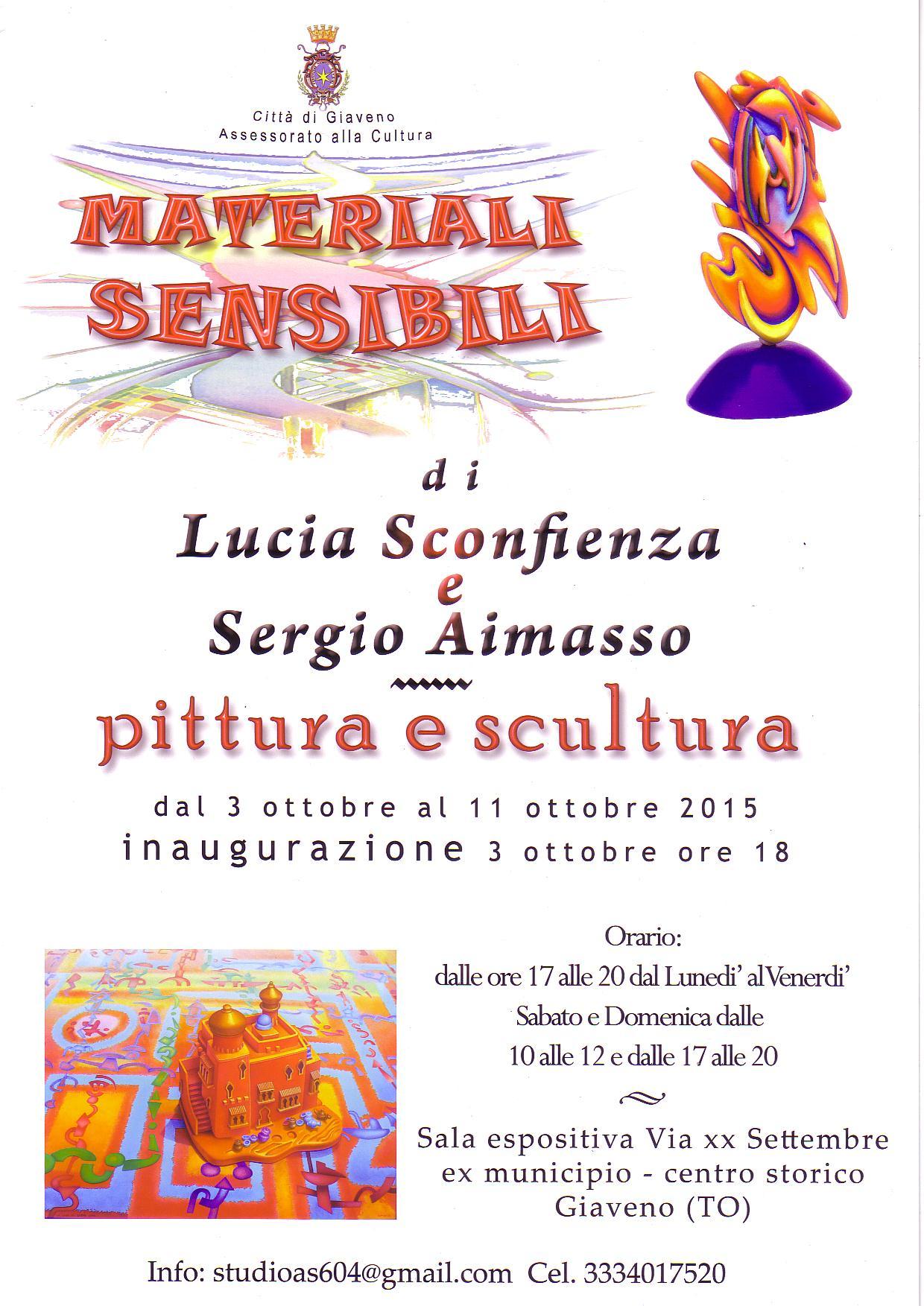 """""""Materiali Sensibili"""" mostra di pittura e scultura di Lucia Sconfienza e Sergio Aimasso"""