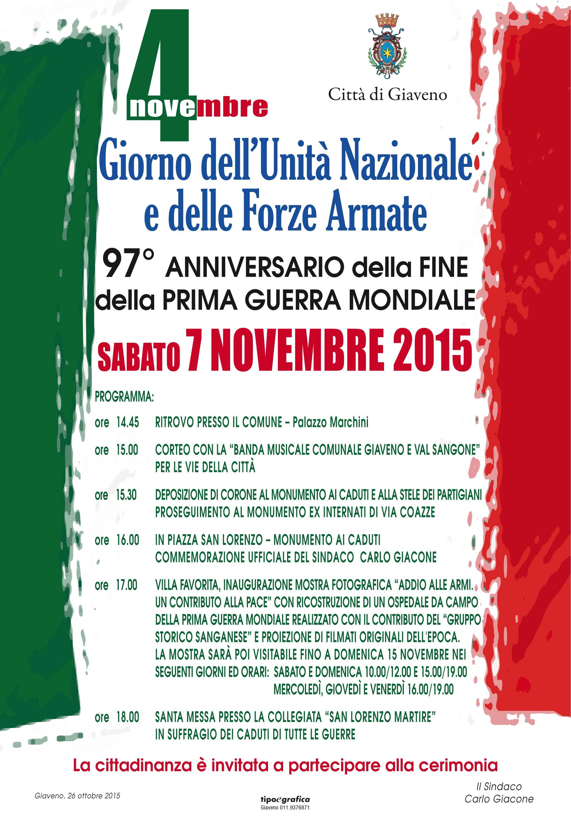IV Novembre 2015 Giorno dell'Unità Nazionale e delle Forze Armate  – Manifestazione sabato 7 novembre 2015