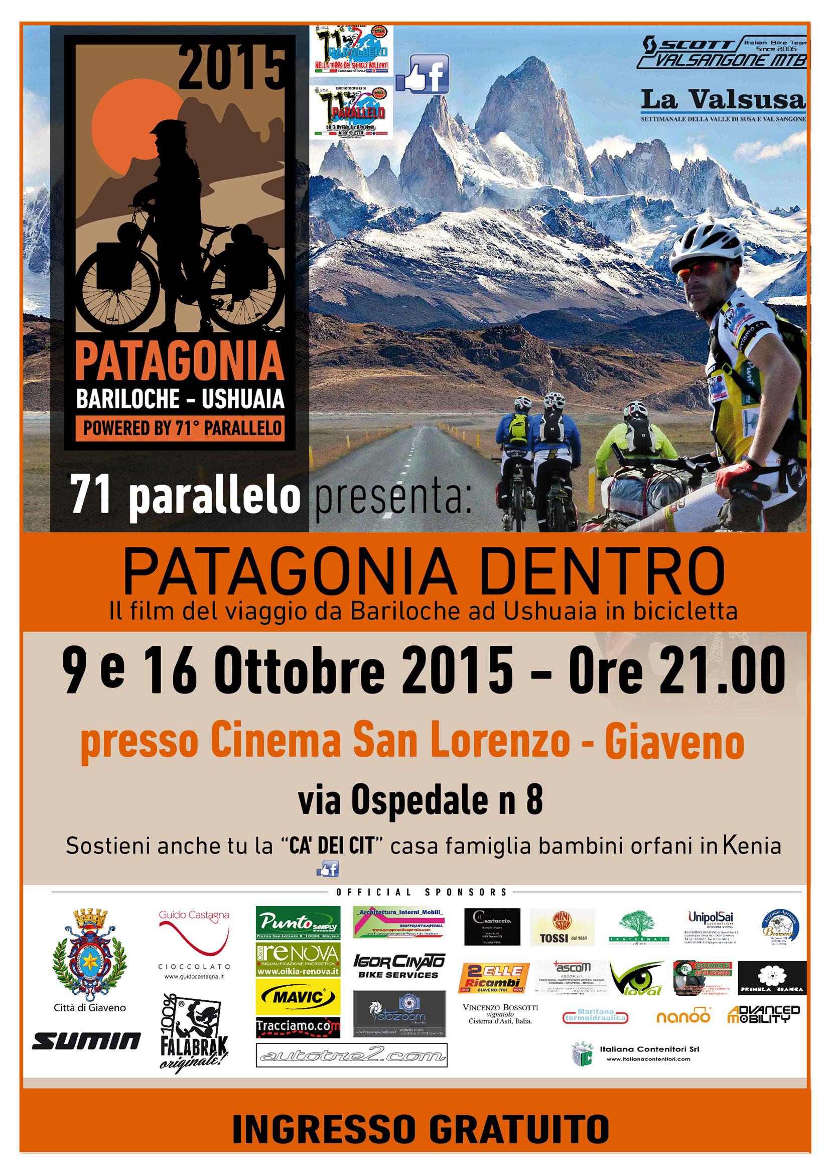 """Presentazione  del film """" Patagonia Dentro""""  – venerdì 9 e 16 ottobre 2015"""