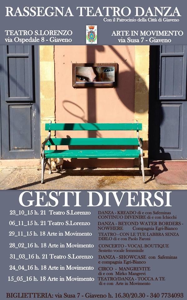 """Rassegna Teatro Danza """"Gesti Diversi"""" di ArteInMovimento  da venerdì 23 ottobre 2015"""