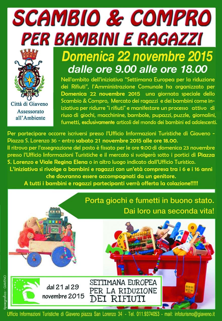 Settimana Europea della Riduzione dei Rifiuti – Scambio e Compro domenica 22 novembre 2015