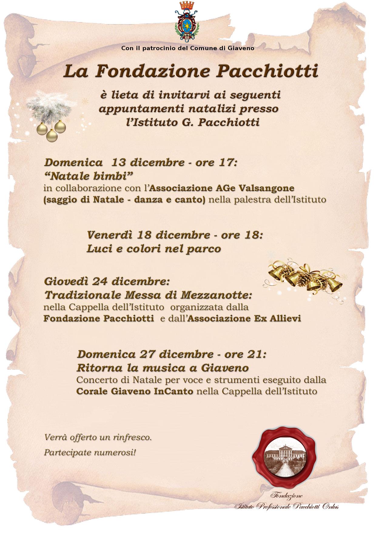 Appuntamenti di Natale presso la Fondazione Pacchiotti