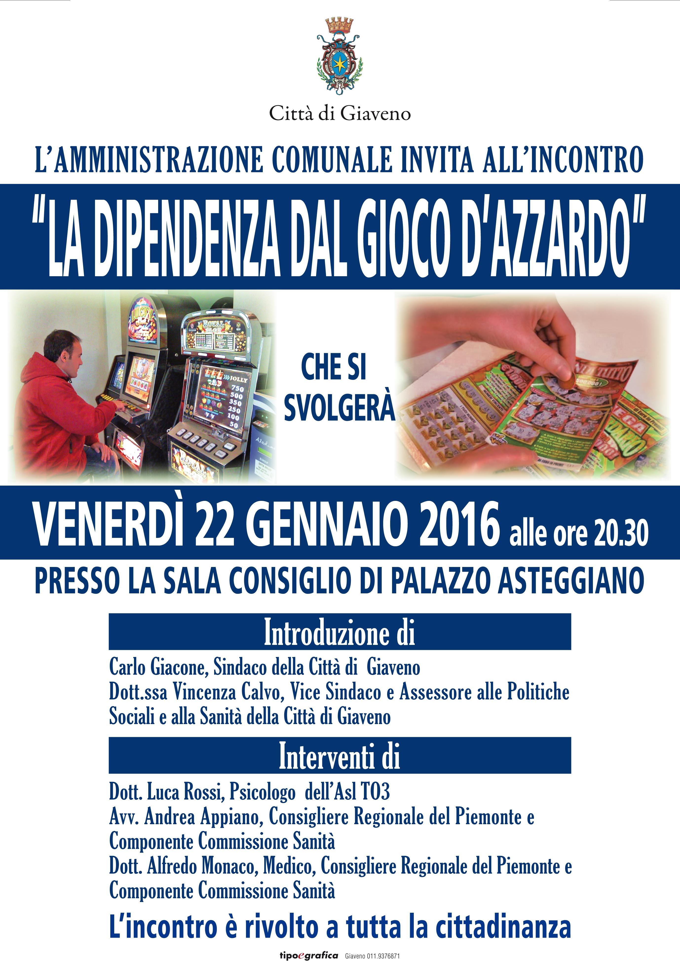 LA DIPENDENZA DAL GIOCO D'AZZARDO – incontro venerdì 22 gennaio 2016