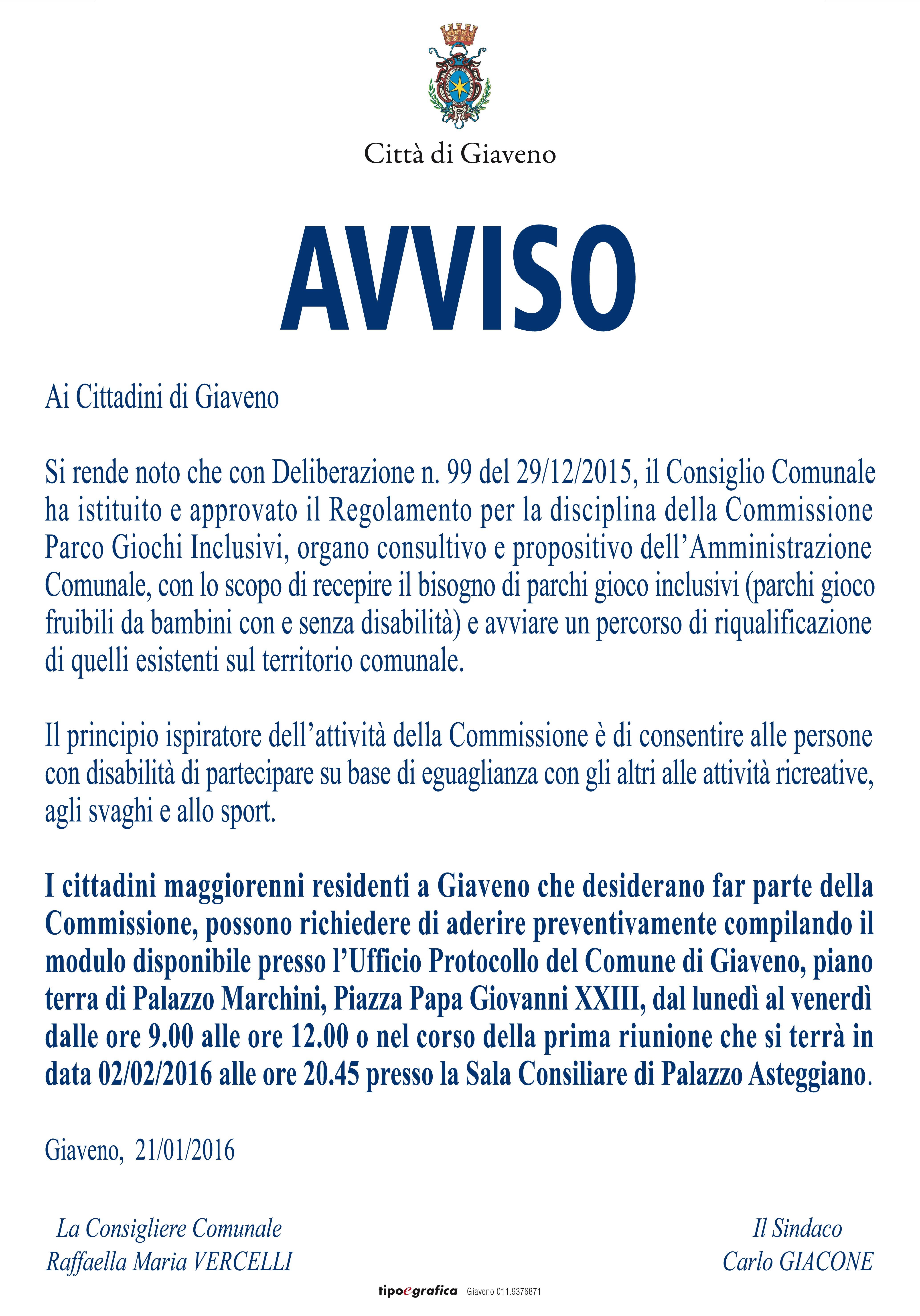 COMMISSIONE  CONSULTIVA E PROPOSITIVA SU I PARCHI GIOCO INCLUSIVI