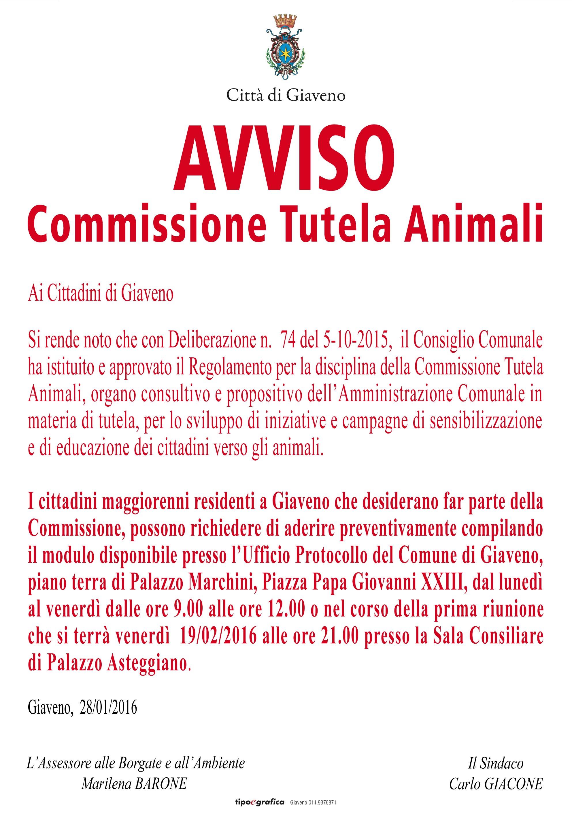 COMMISSIONE TUTELA ANIMALI: AVVISO E PRIMO INCONTRO  VENERDI' 19 febbraio 2016