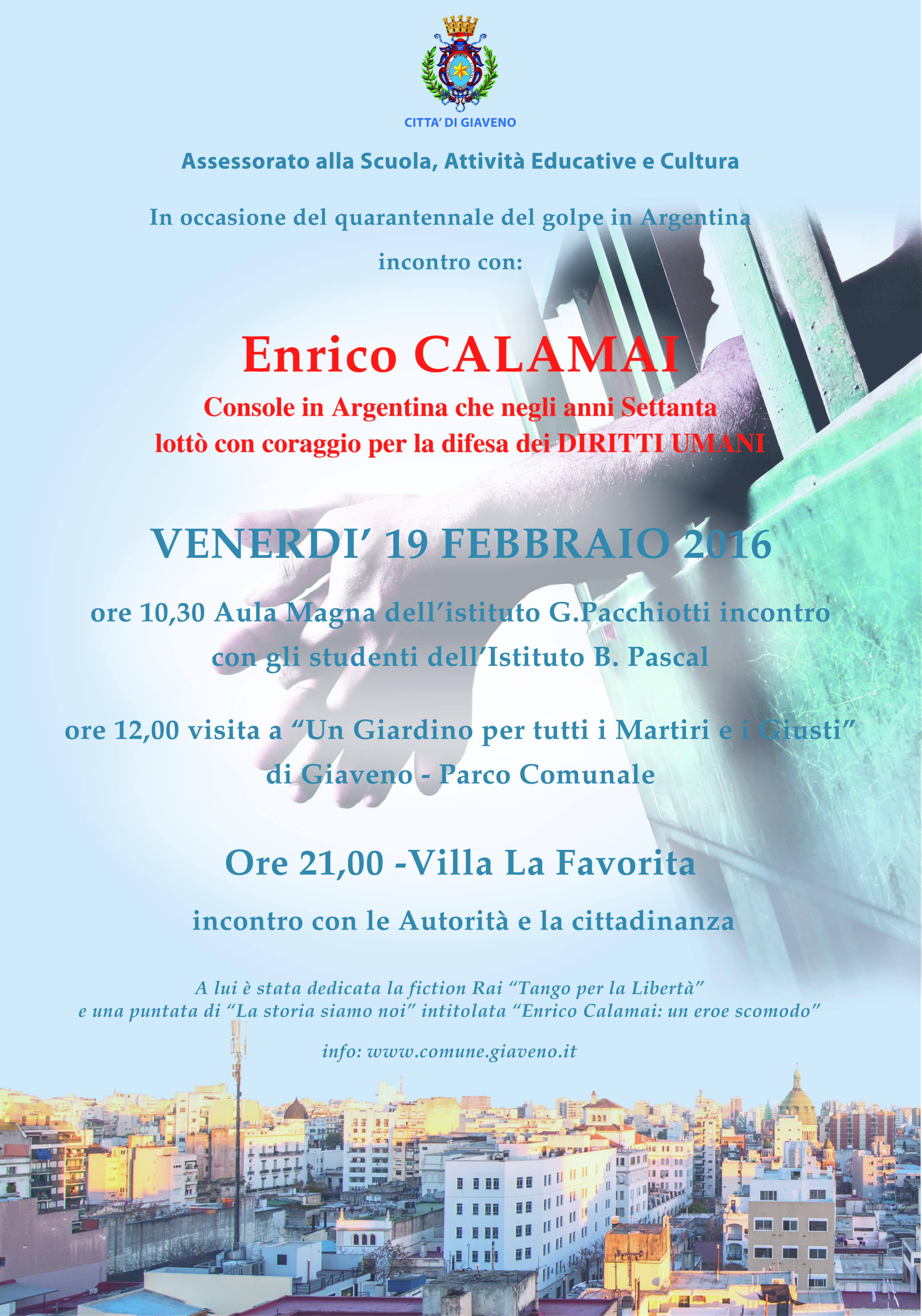 Enrico Calamai a Giaveno  – Venerdì 19 febbraio 2016