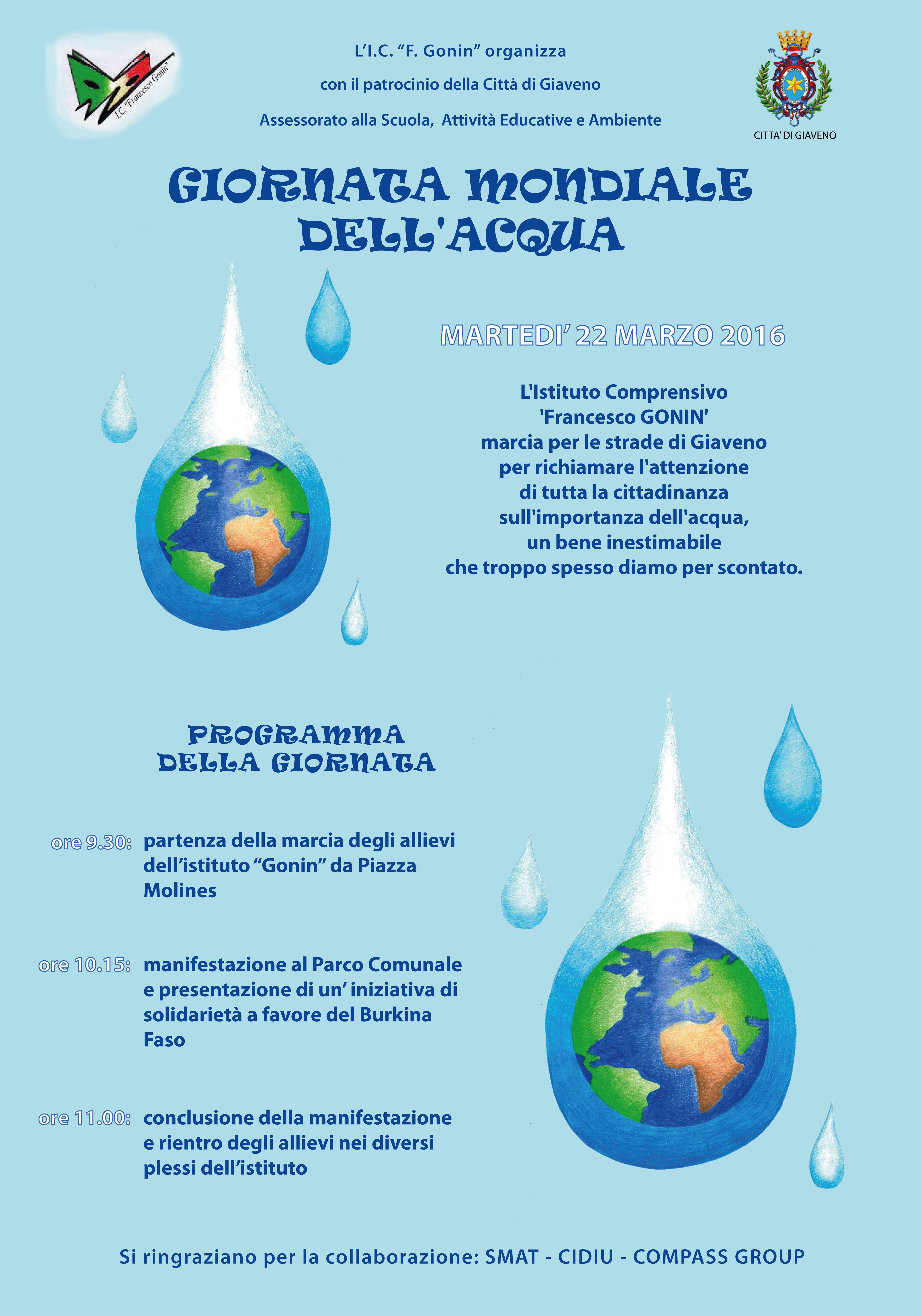 Giornata Mondiale dell'Acqua – martedì 22 marzo 2016
