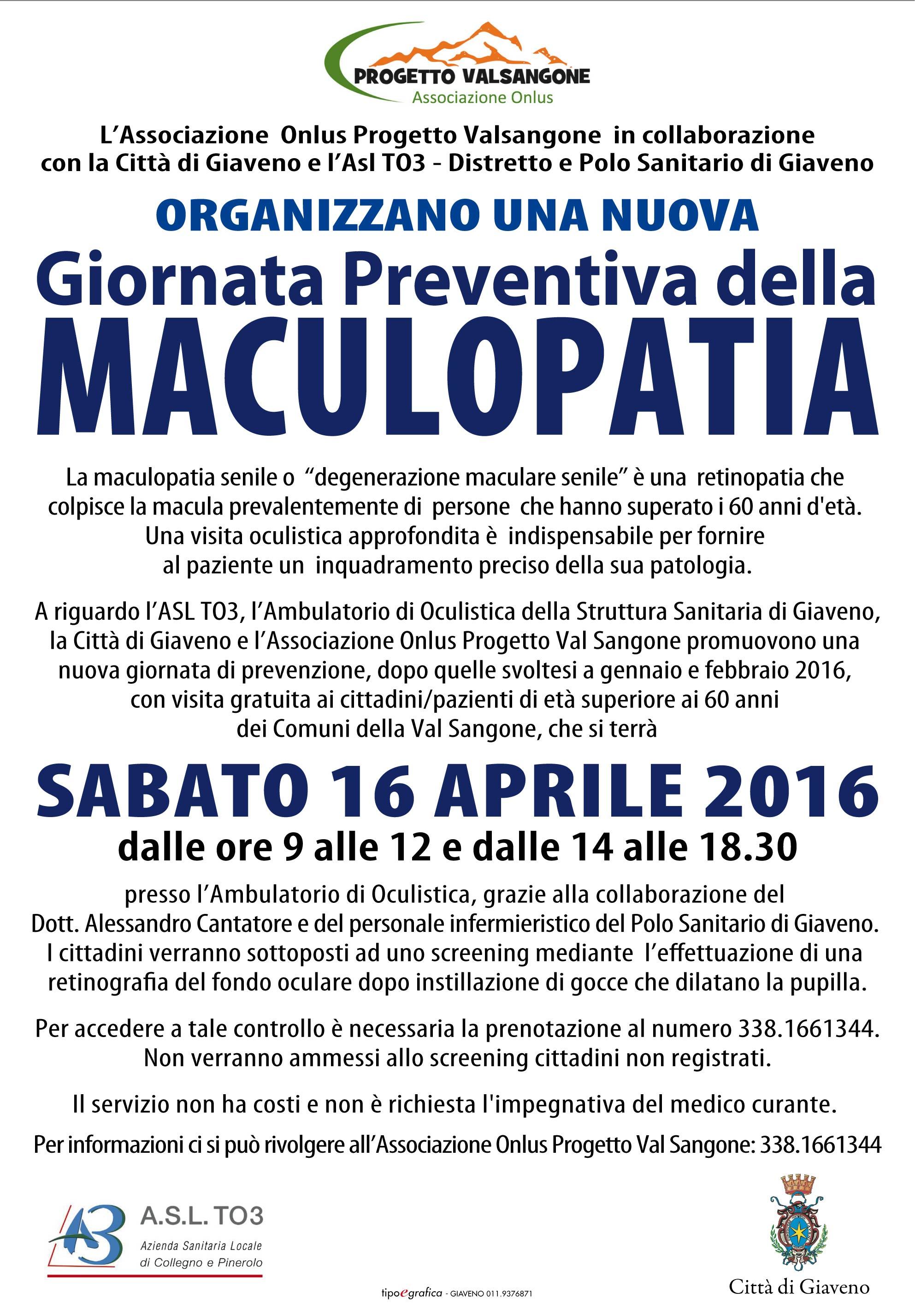 Giornata di prevenzione della Maculopatia – sabato 16 aprile 2016