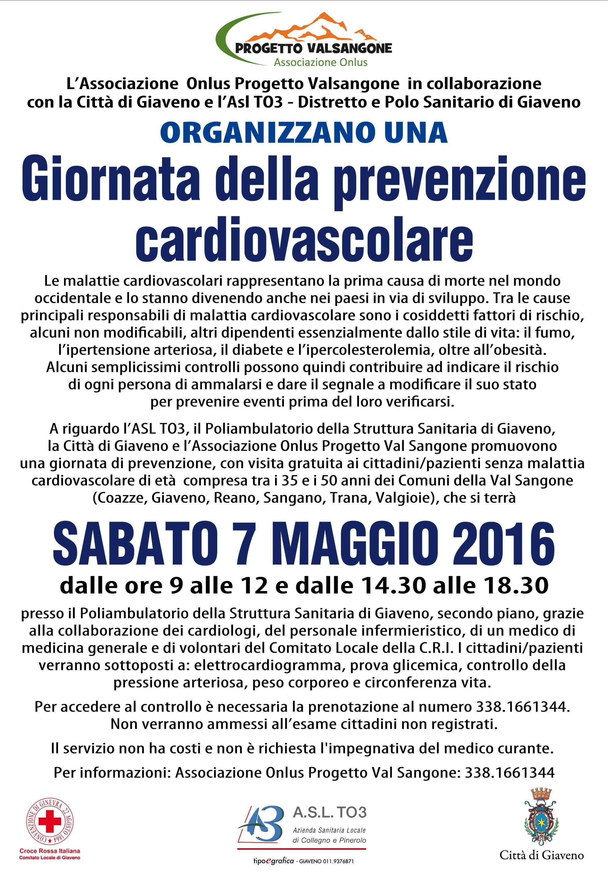 Giornata della Prevenzione Cardiovascolare  – Sabato 7 maggio 2016