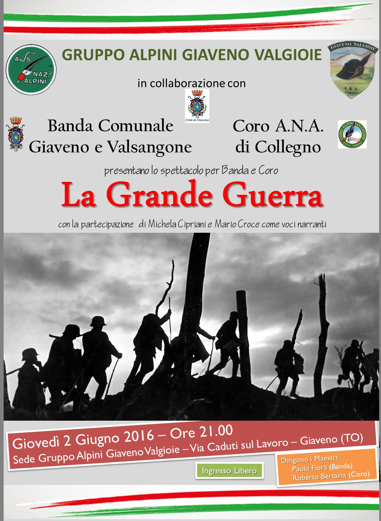 La Grande Guerra  – Spettacolo per Banda e Coro  giovedì 2 giugno 2016
