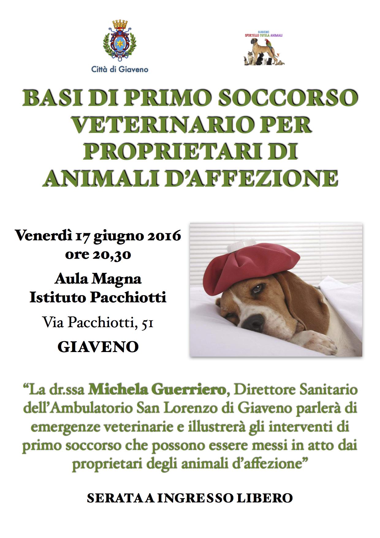 Basi di primo soccorso veterinario  –  Venerdì 17 giugno 2016