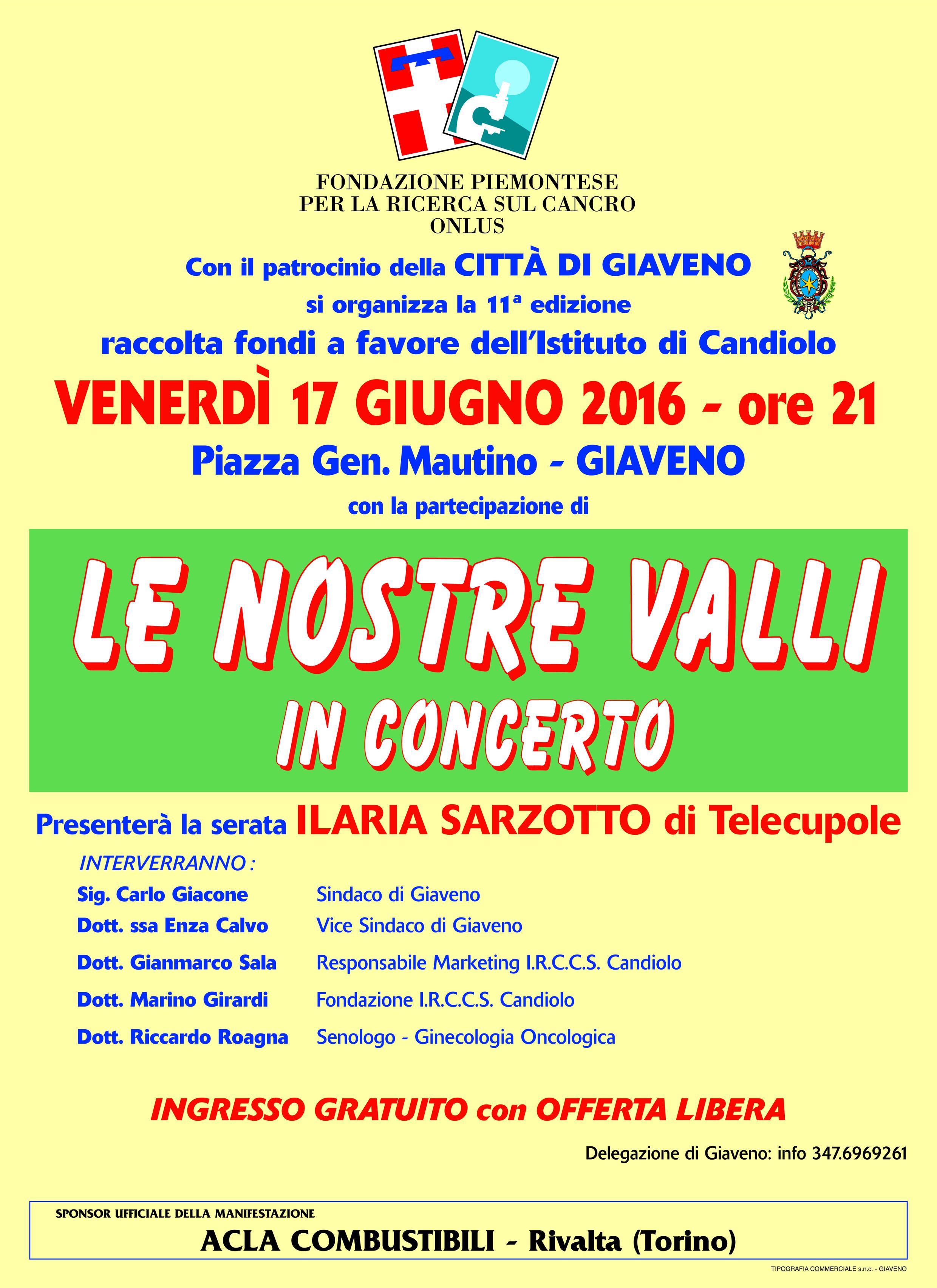 Concerto de Le Nostre Valli   – venerdì 17 giugno 2016