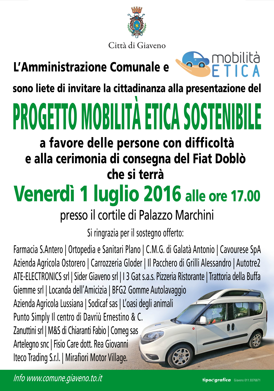 Presentazione Progetto Mobilità Etica Sostenibile e consegna Fiat Doblò – Venerdì 1 luglio 2016