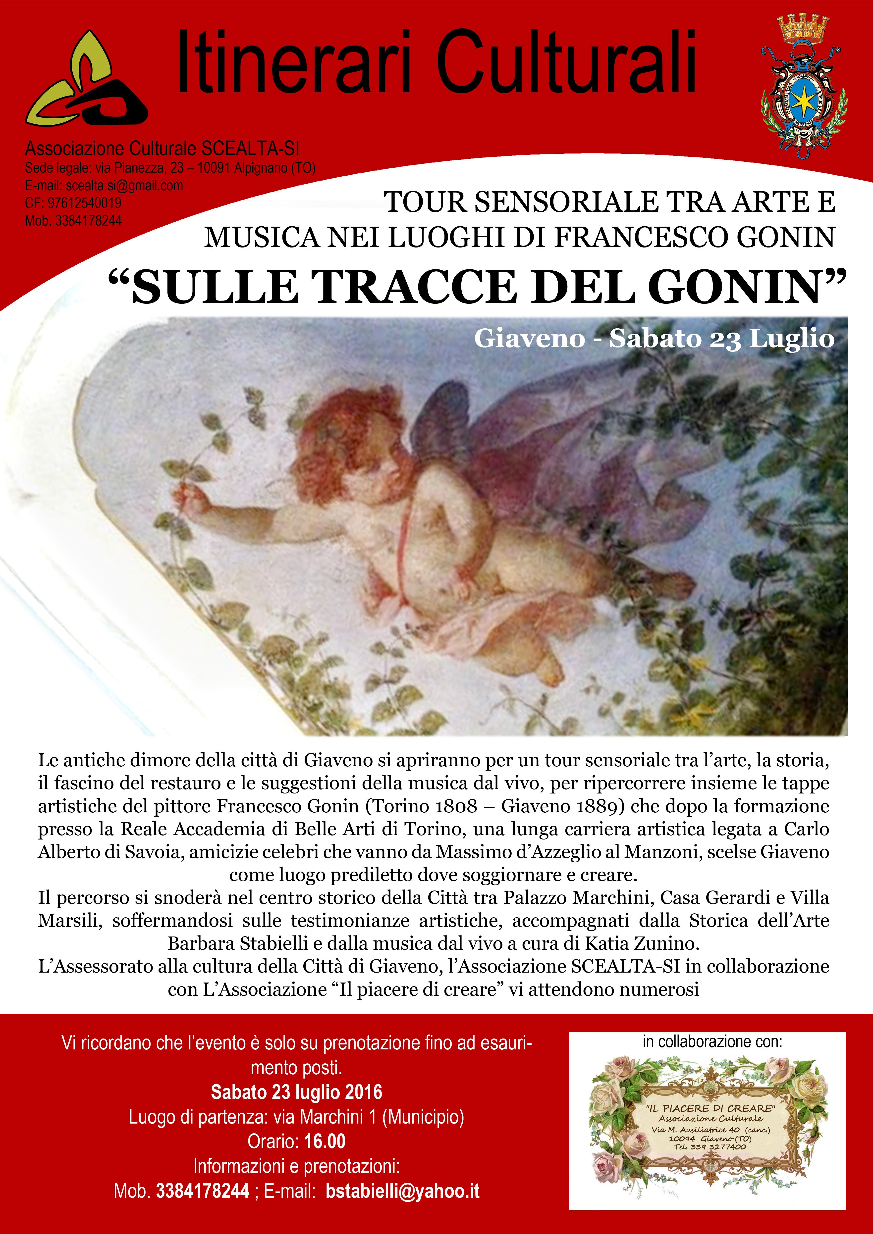 """""""Sulle tracce del Gonin"""" tour sensoriale  nei luoghi di Francesco Gonin – sabato 23 luglio 2016"""