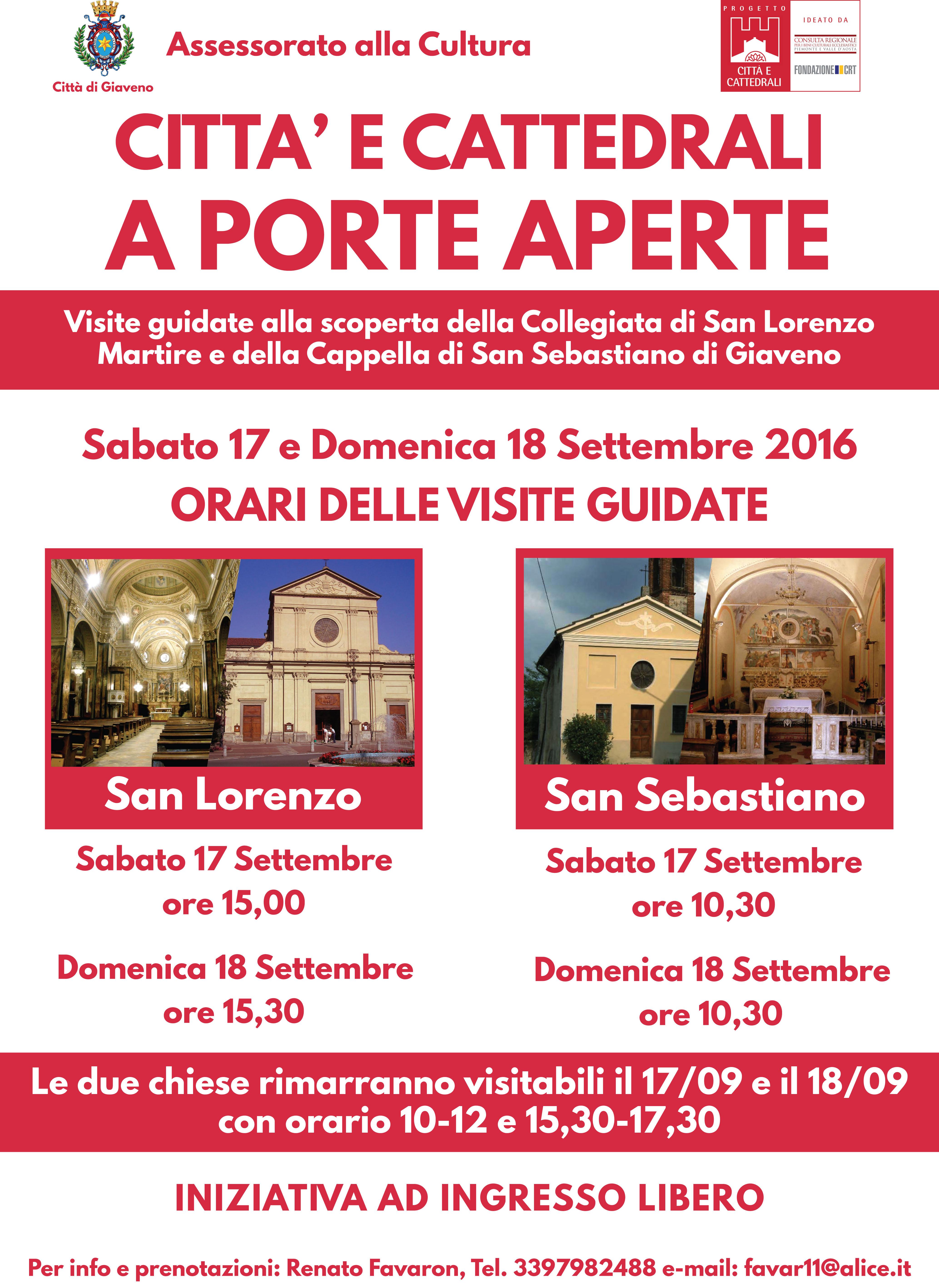 Citta e Cattedrali a Porte Aperte  – sabato 17 e domenica 18 settembre 2016