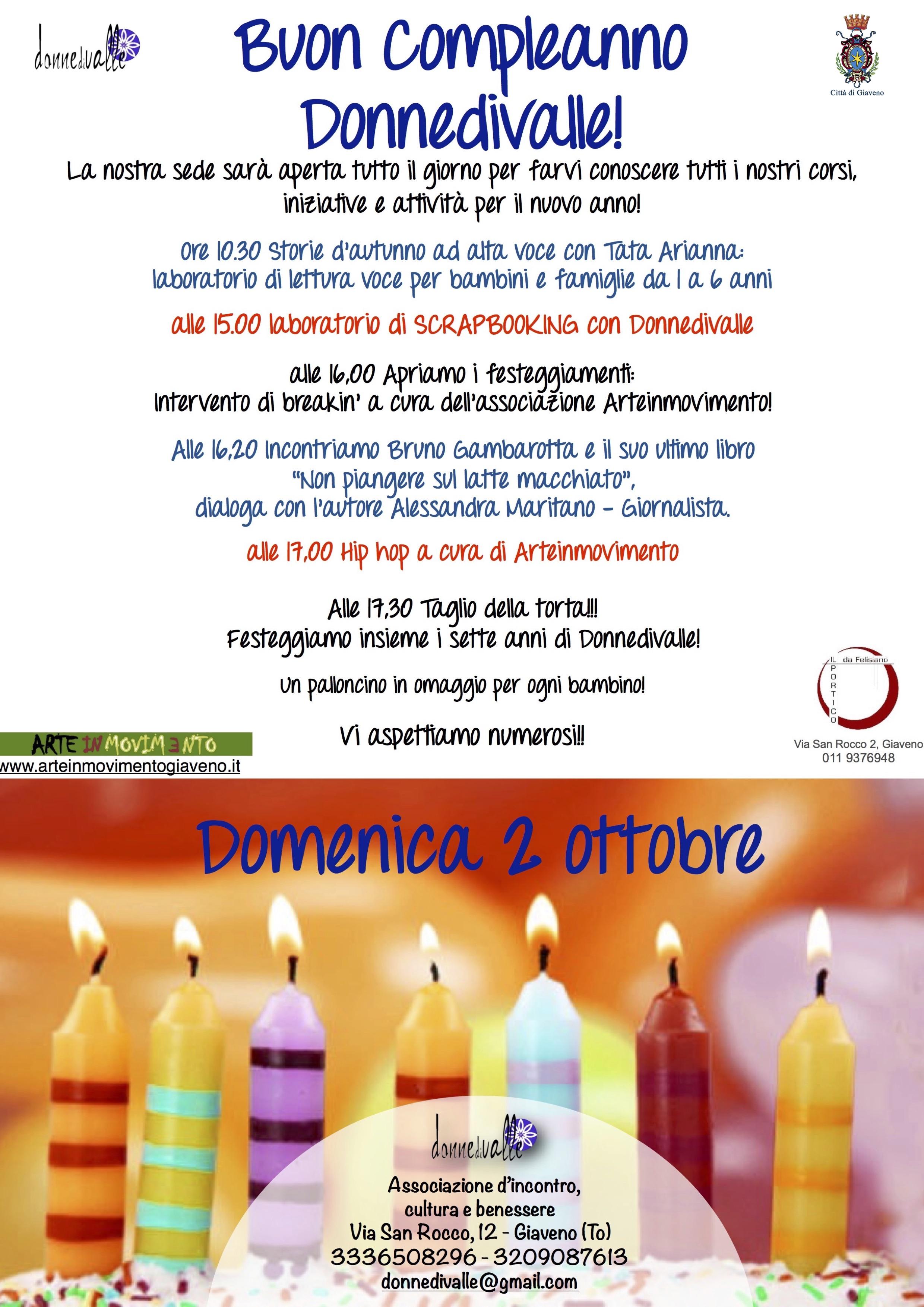Festa di Compleanno  per l'Associazione Culturale DonneDiValle