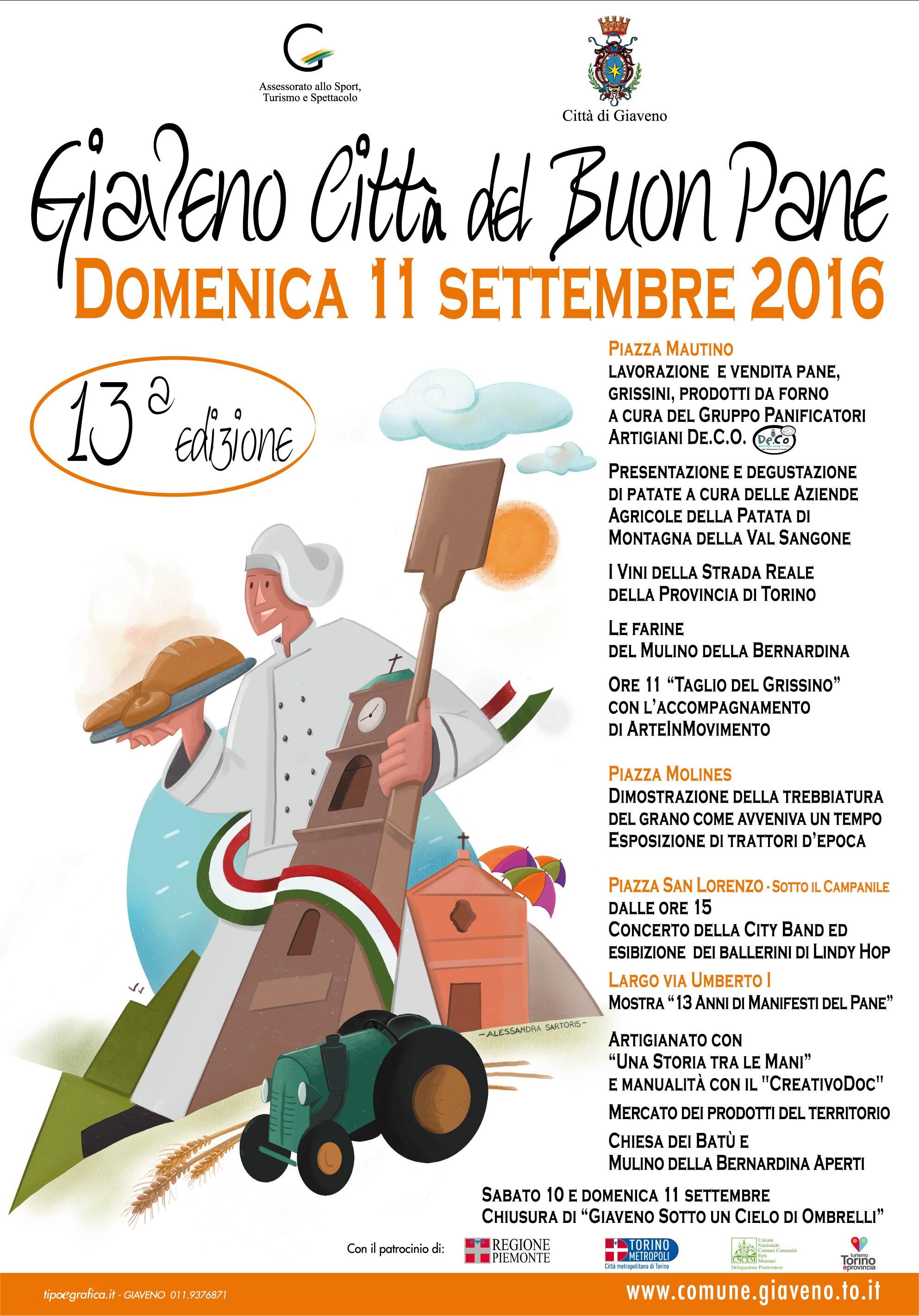 """13esima  edizione di """"Giaveno Città del Buon Pane"""" domenica 11 settembre 2016"""