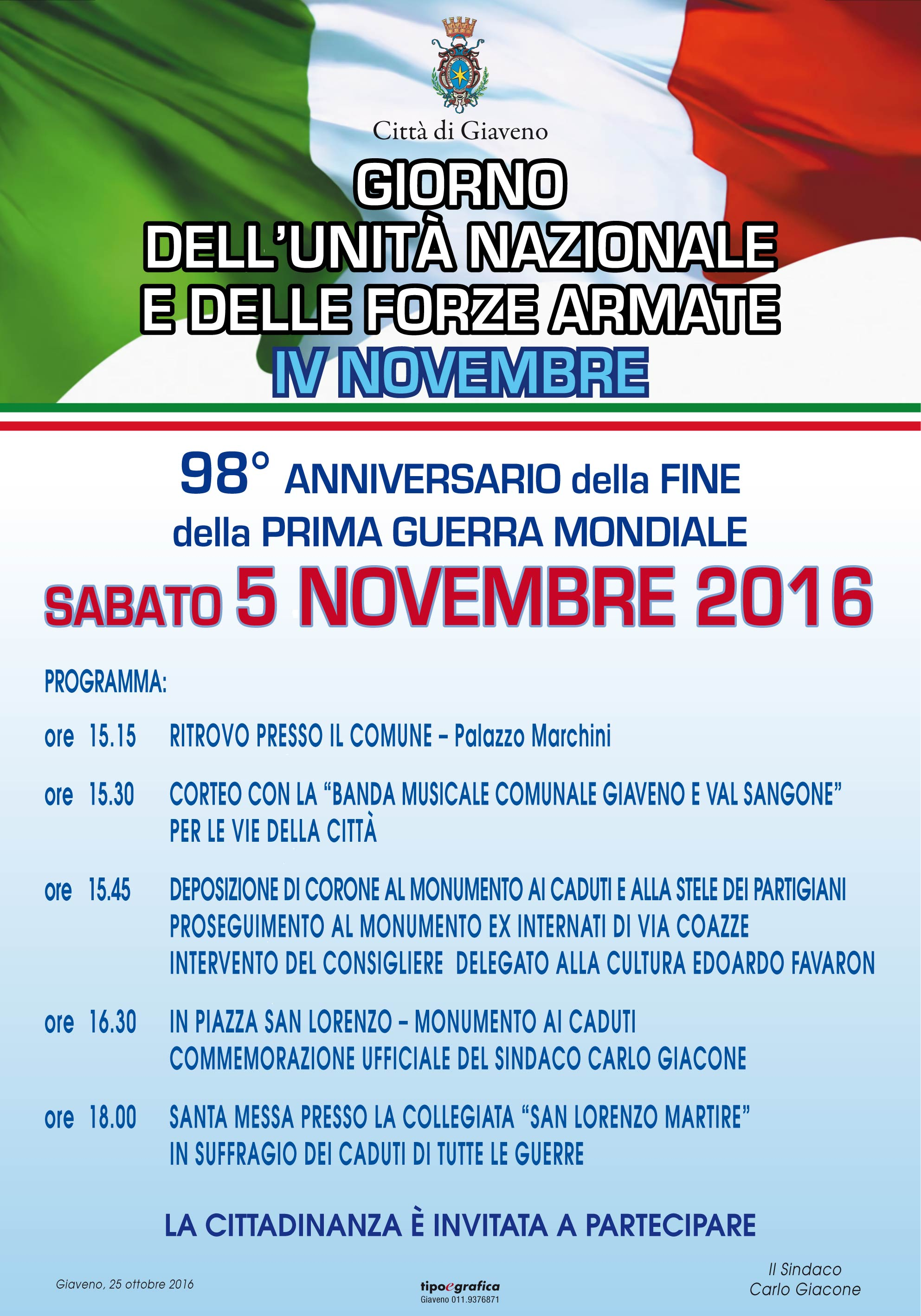 Giorno dell'Unità Nazionale  IV Novembre –  Commemorazione sabato 5 novembre 2016