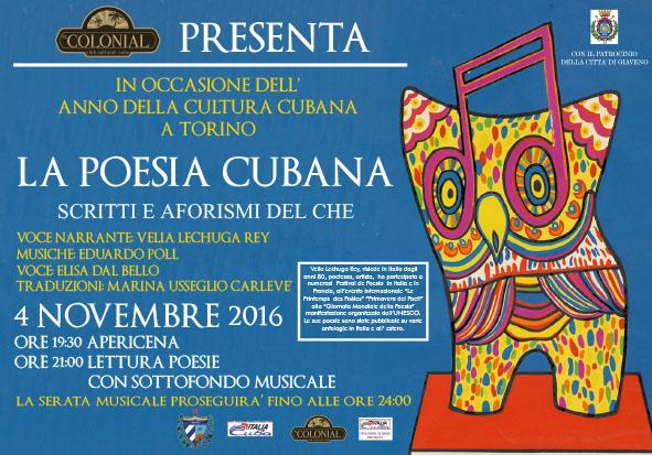 """Nell'Anno della Cultura Cubana a Torino """" La Poesia Cubana""""  –  venerdì 4 novembre 2016"""