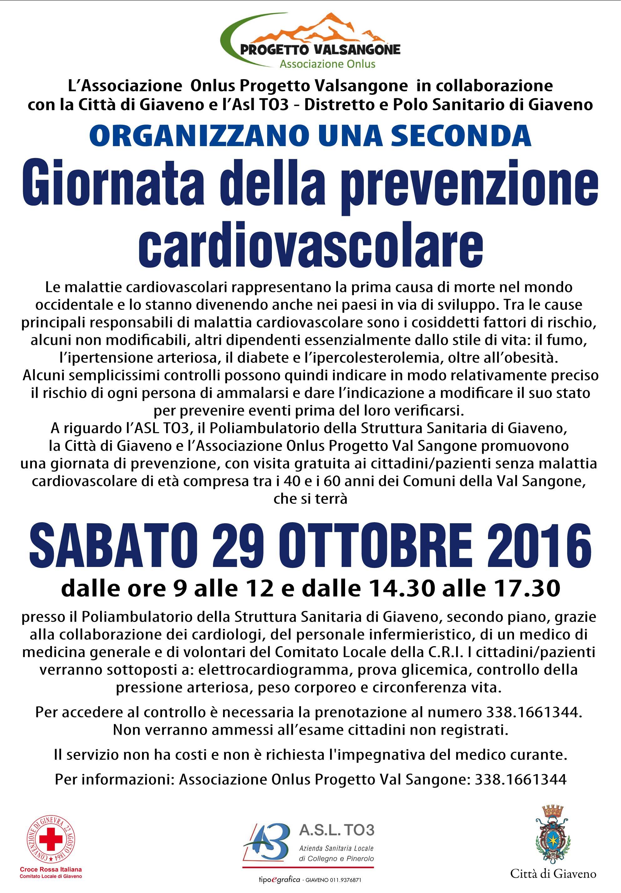 Giornata della Prevenzione Cardiovascolare  – sabato 29 ottobre 2016