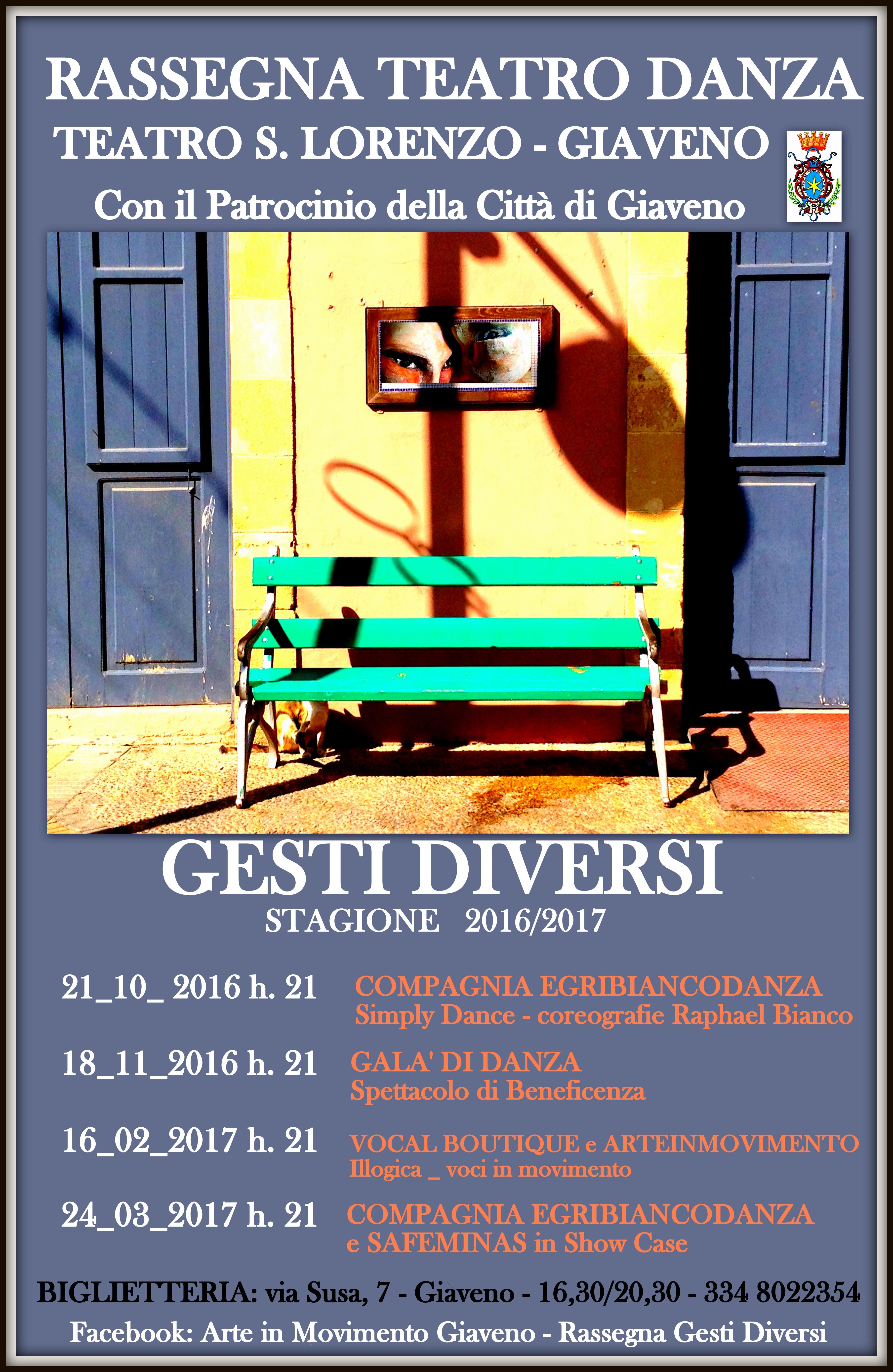 """Rassegna """"Gesti Diversi""""  – Appuntamento venerdì 18 novembre con il Galà di Danza"""