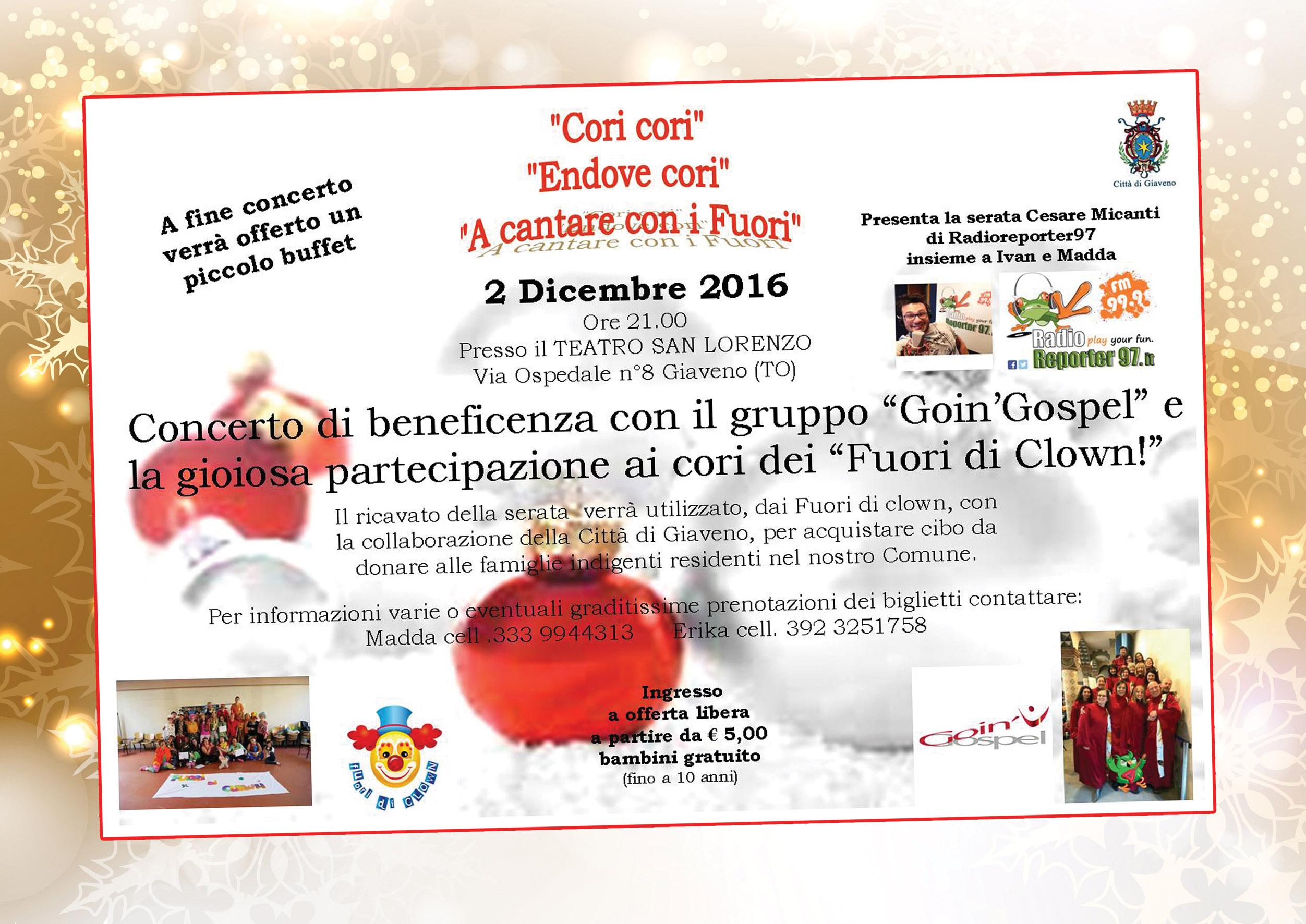"""""""Cori cori"""", """"Endove Cori"""", """" A Cantare con i Fuori""""  – concerto di beneficenza  – venerdì 2 dicembre 2016"""