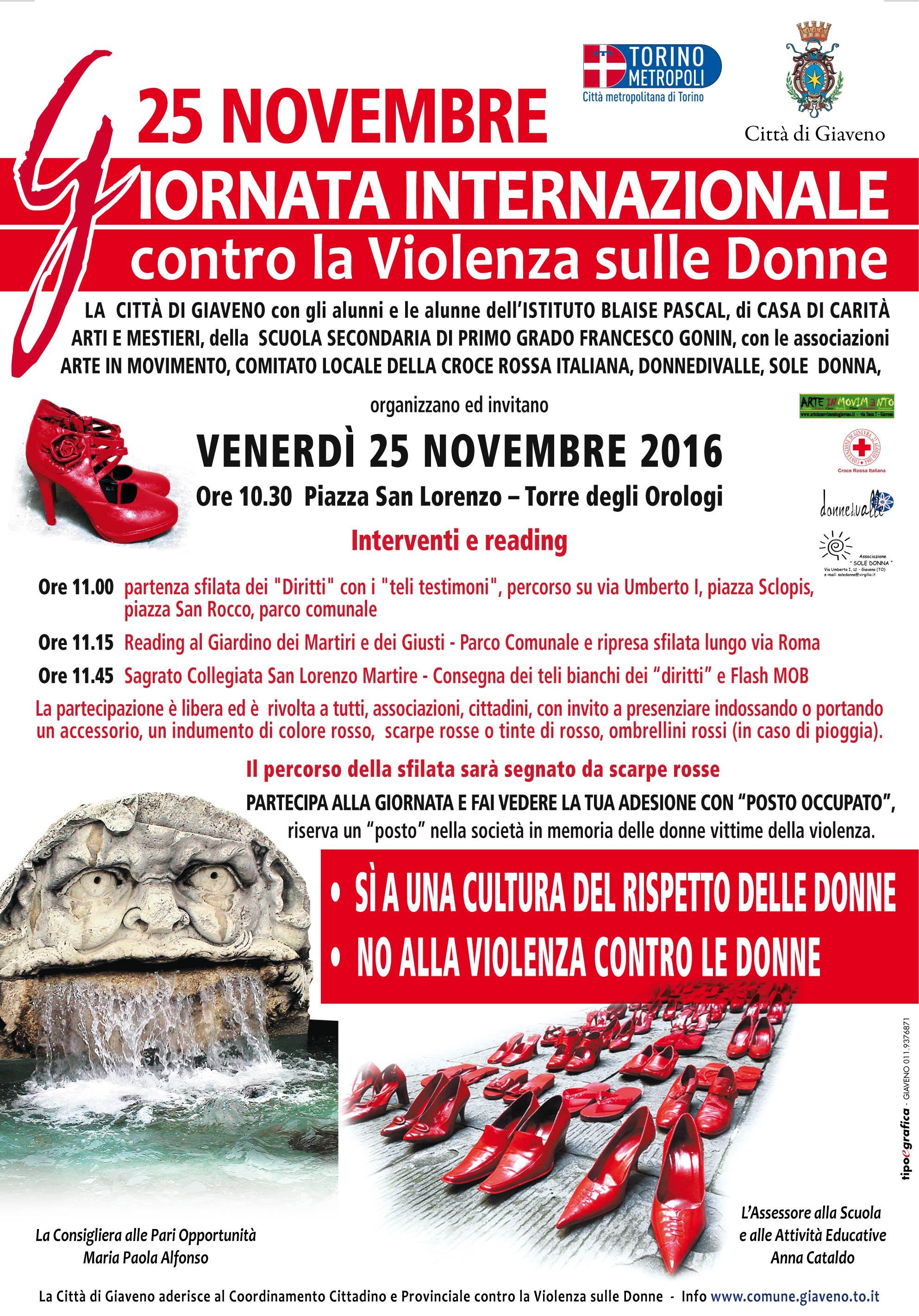 ANNULLATA   la manifestazione  per La Giornata Internazionale Contro la Violenza sulle Donne – Venerdì 25 novembre 2016