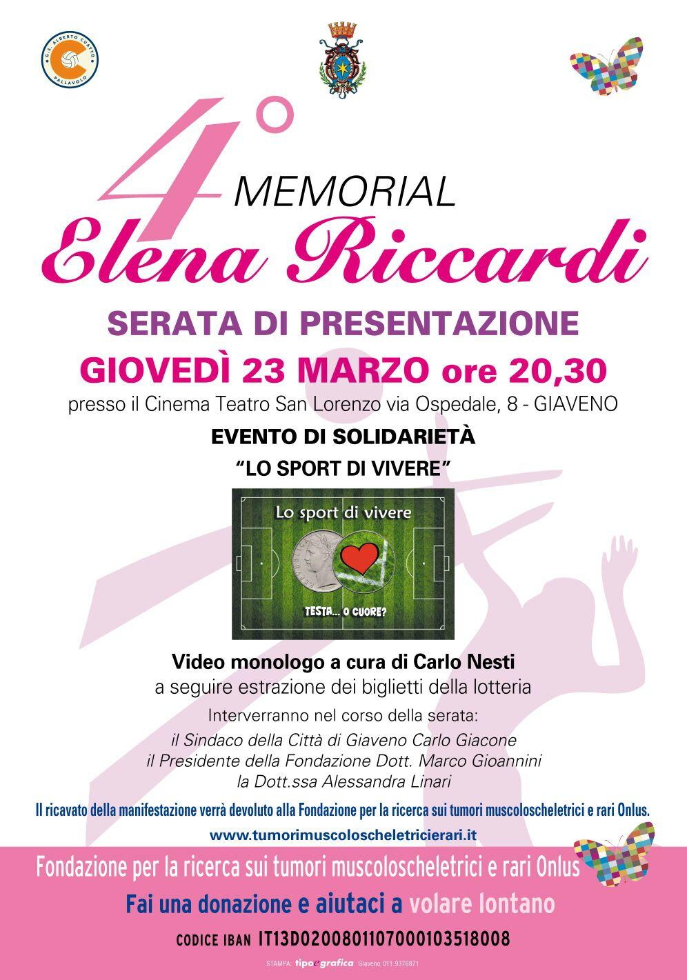 4° Memorial Elena Riccardi  23, 24 e 25 marzo 2017