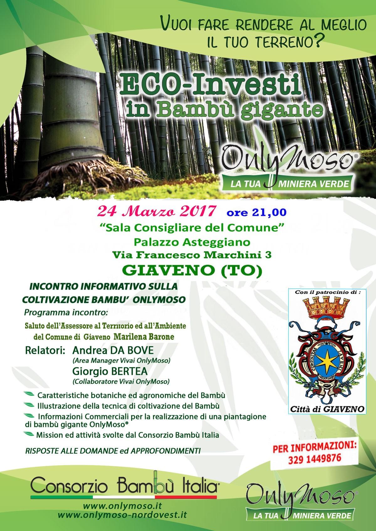 Incontro informativo sulla coltivazione del Bambù gigante – Venerdì 24 marzo 2017