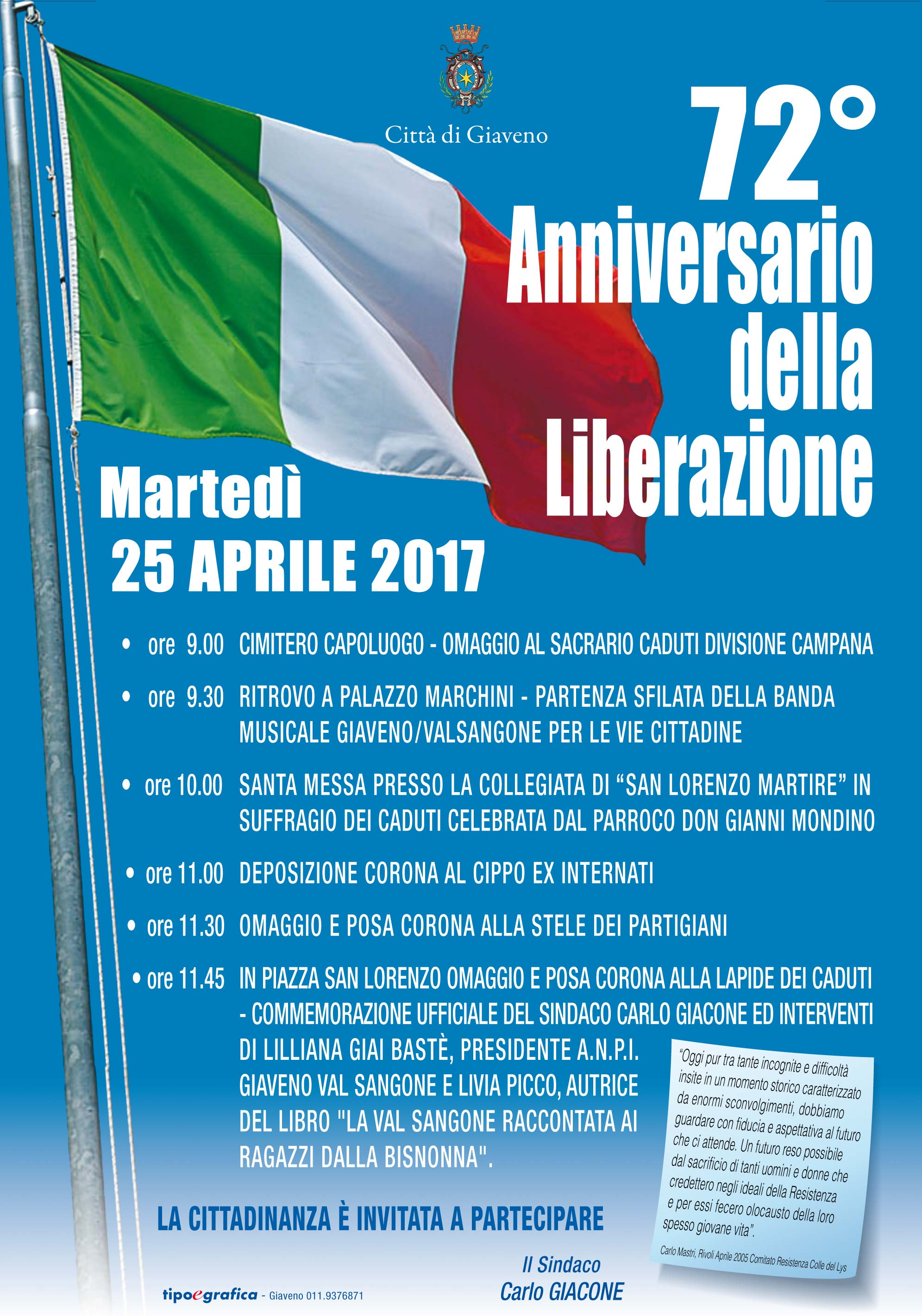 72° Anniversario  della Liberazione  – Martedì 25 Aprile 2017