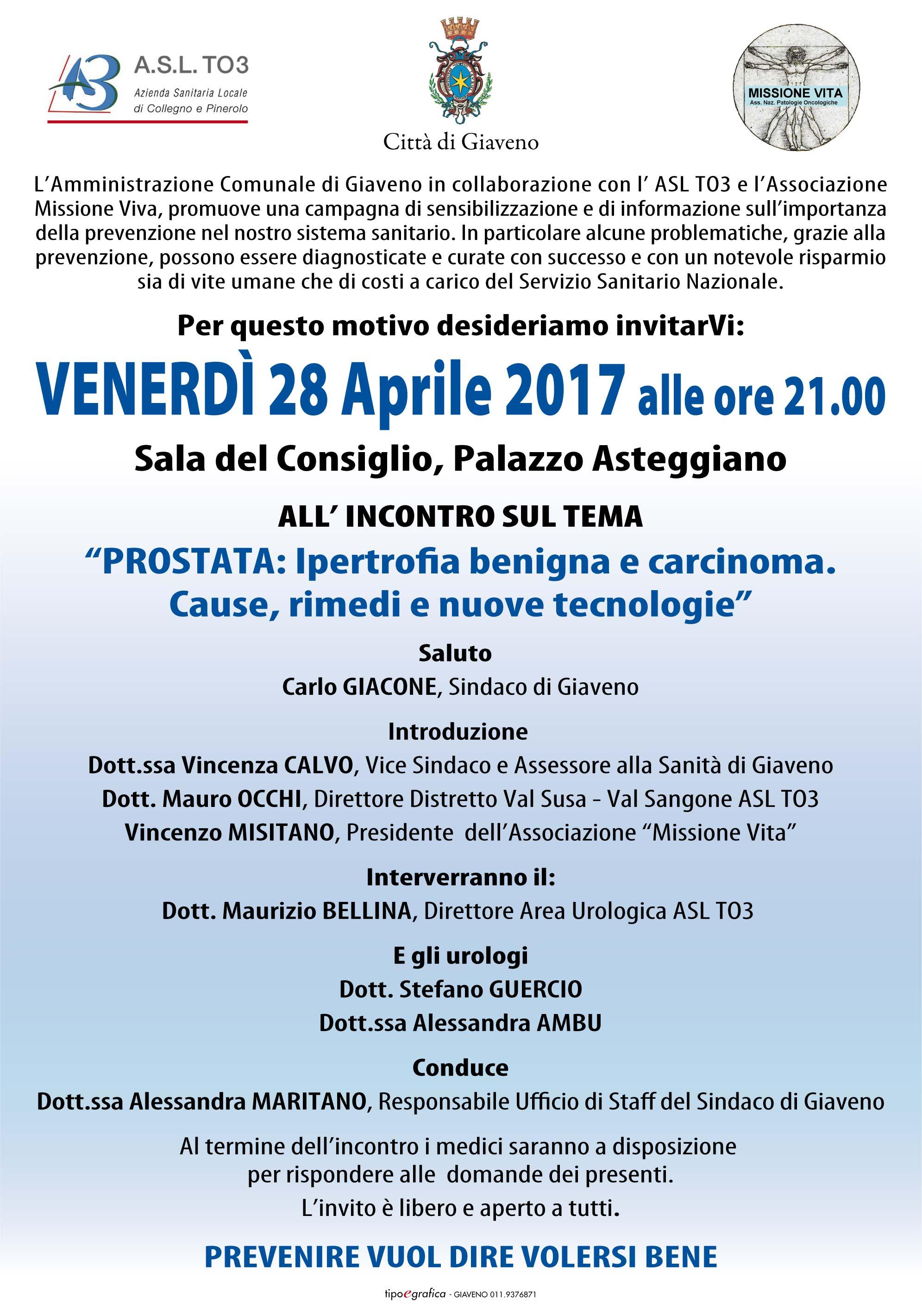 """""""Prostata: Ipertrofia benigna e carcinoma. Cause, rimedi e nuove tecnologie – Venerdì 28 aprile 2017"""