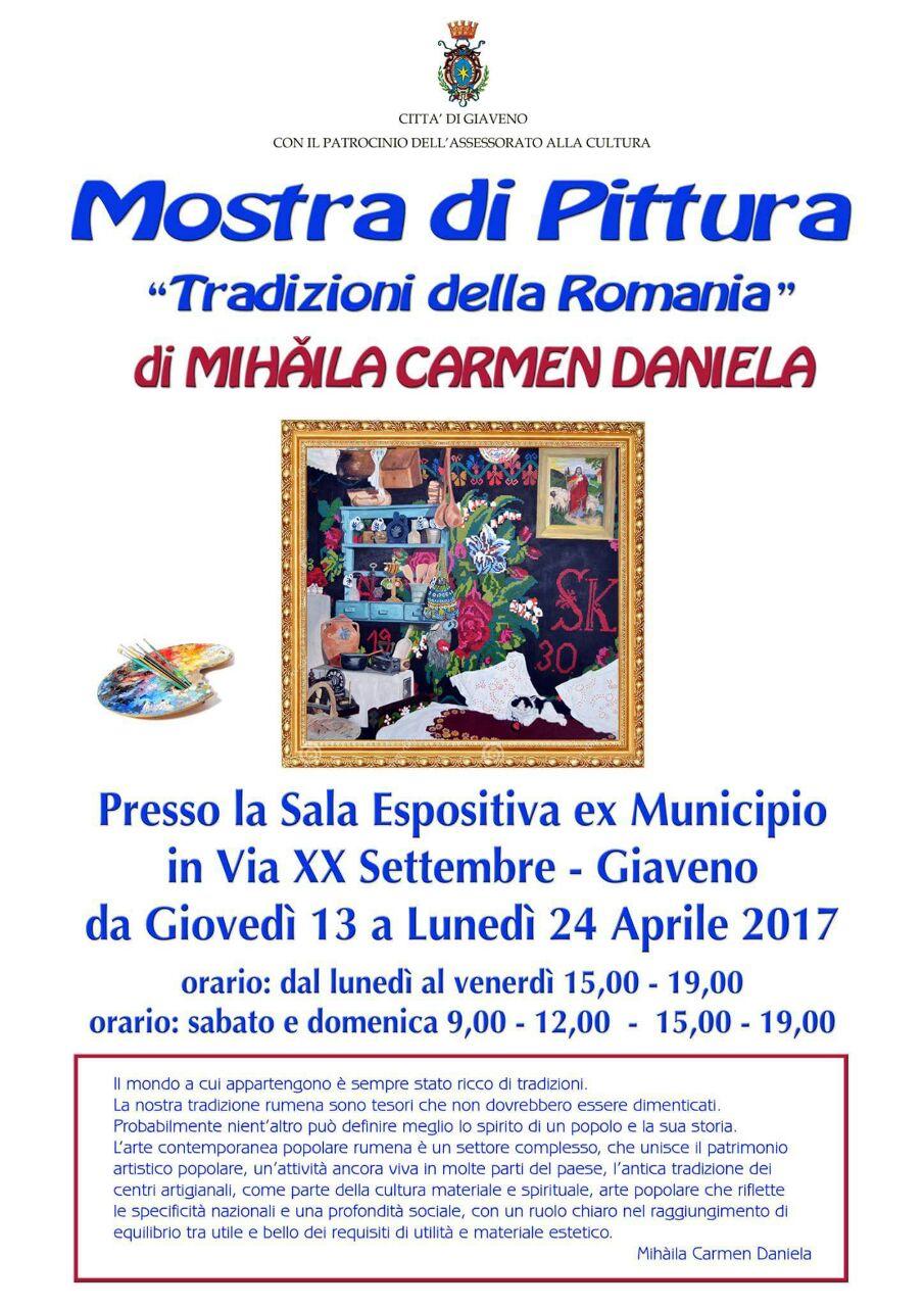 """Mostra di pittura """"Tradizioni della Romania"""" dal 13 al 24 aprile 2017"""