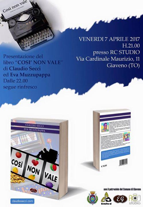 """Presentazione del libro """"Così non vale"""" venerdì 7 aprile 2017"""