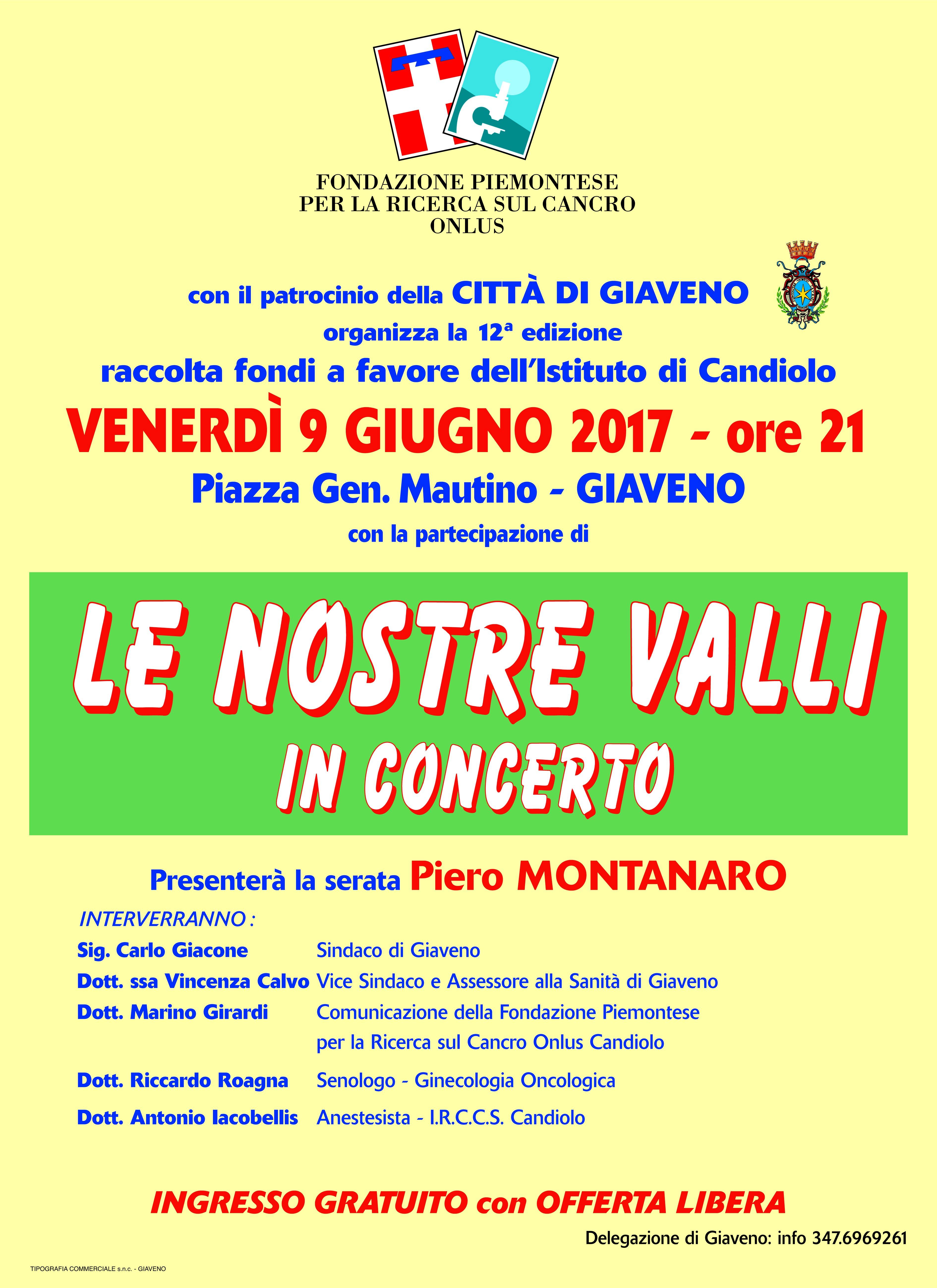 Le Nostre Valli in Concerto –  Venerdì 9 giugno 2017
