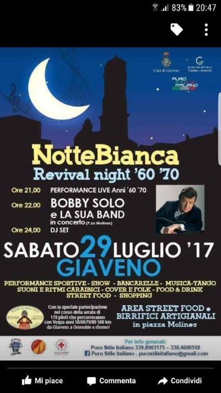 NOTTE BIANCA – REVIVAL NIGHT anni '60 e '70 – Sabato 29 luglio 2017