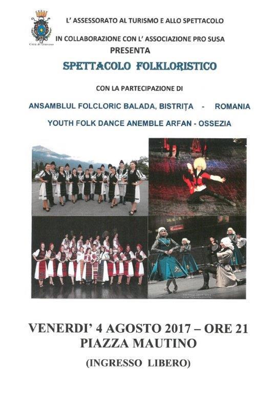 Spettacolo Folkloristico – venerdì 4 Agosto 2017 ore 21 piazza Mautino