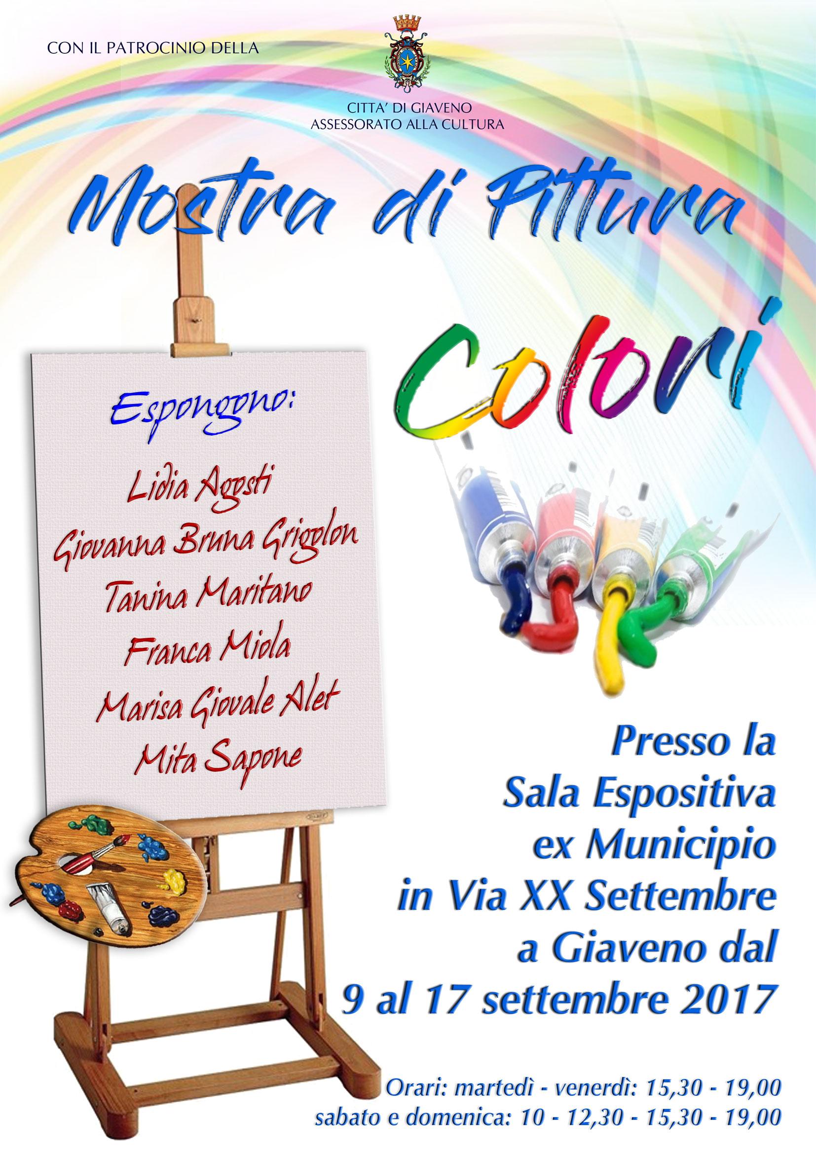 """Mostra collettiva di pittura """"Colori"""" dal 9 al 17 settembre 2017"""