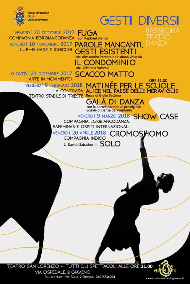 """Ultimo appuntamento con la rassegna di teatro danza """"Gesti Diversi"""" – Venerdì 20 Aprile 2018"""