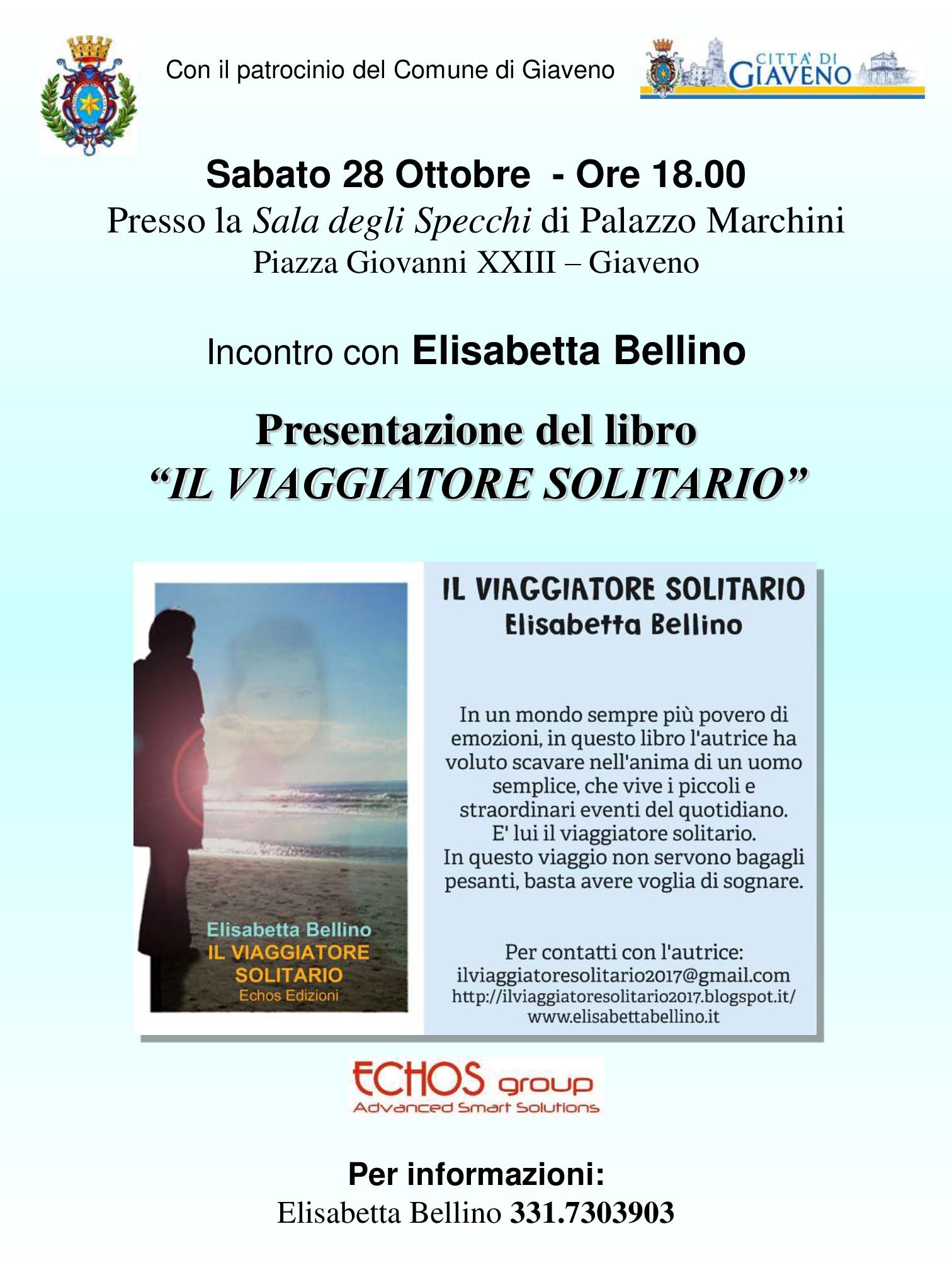 """Presentazione del libro """"Il Viaggiatore solitario"""" – sabato 28 ottobre 2017"""